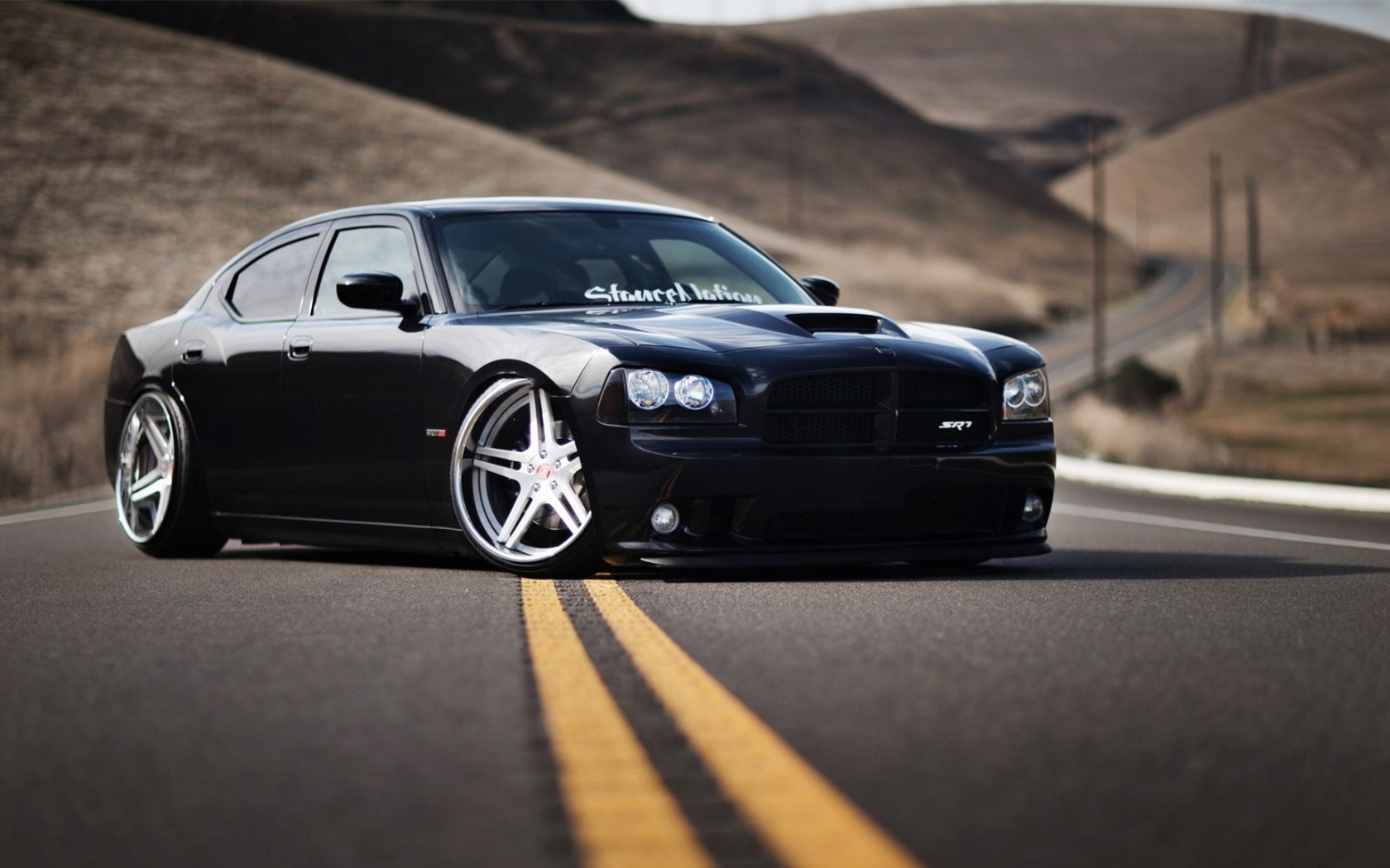 Dodge Charger Srt8 Black Car Tuning Wallpaper 1680x1050