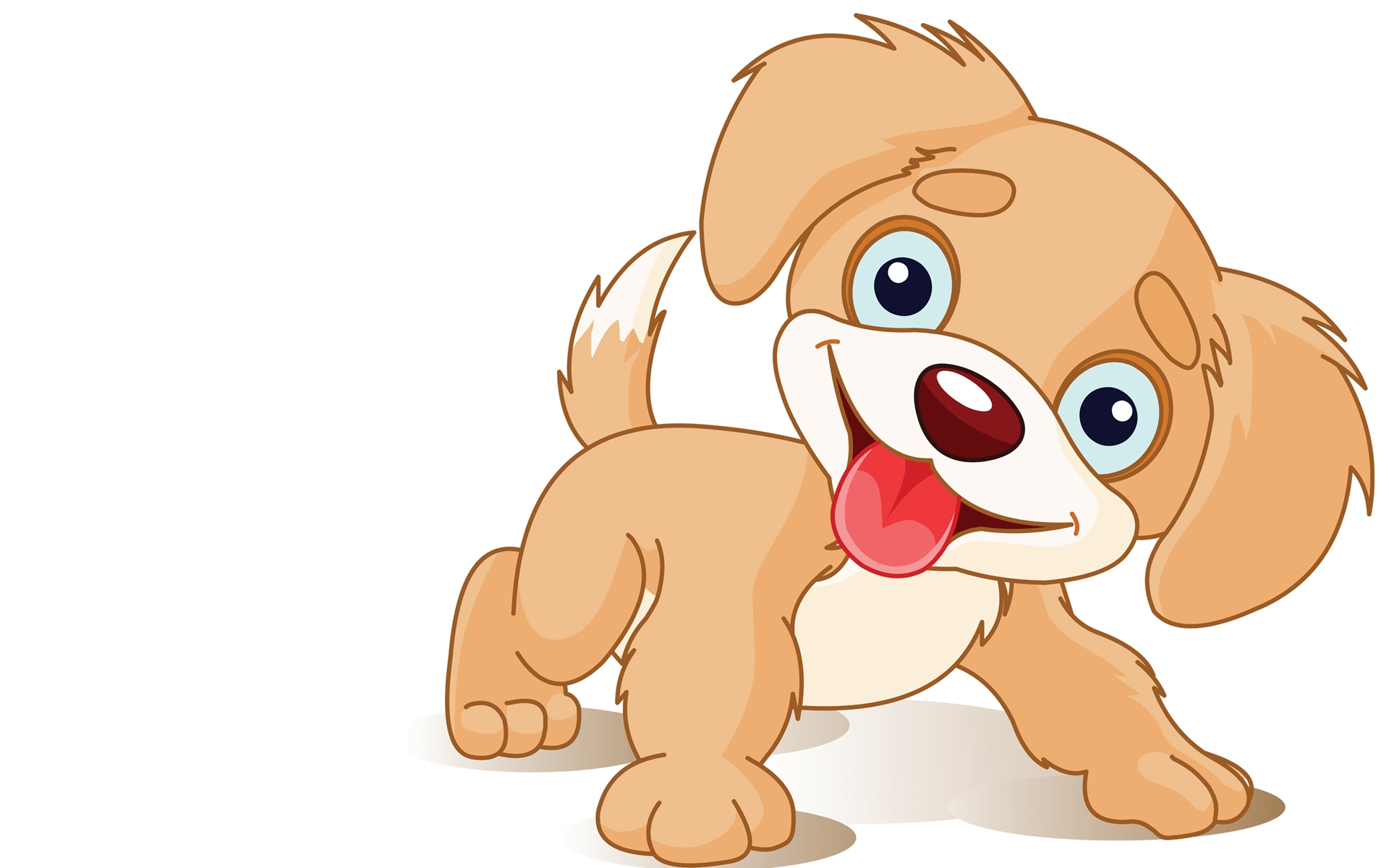 Happy puppy cartoon cute smile dog 1920x1200