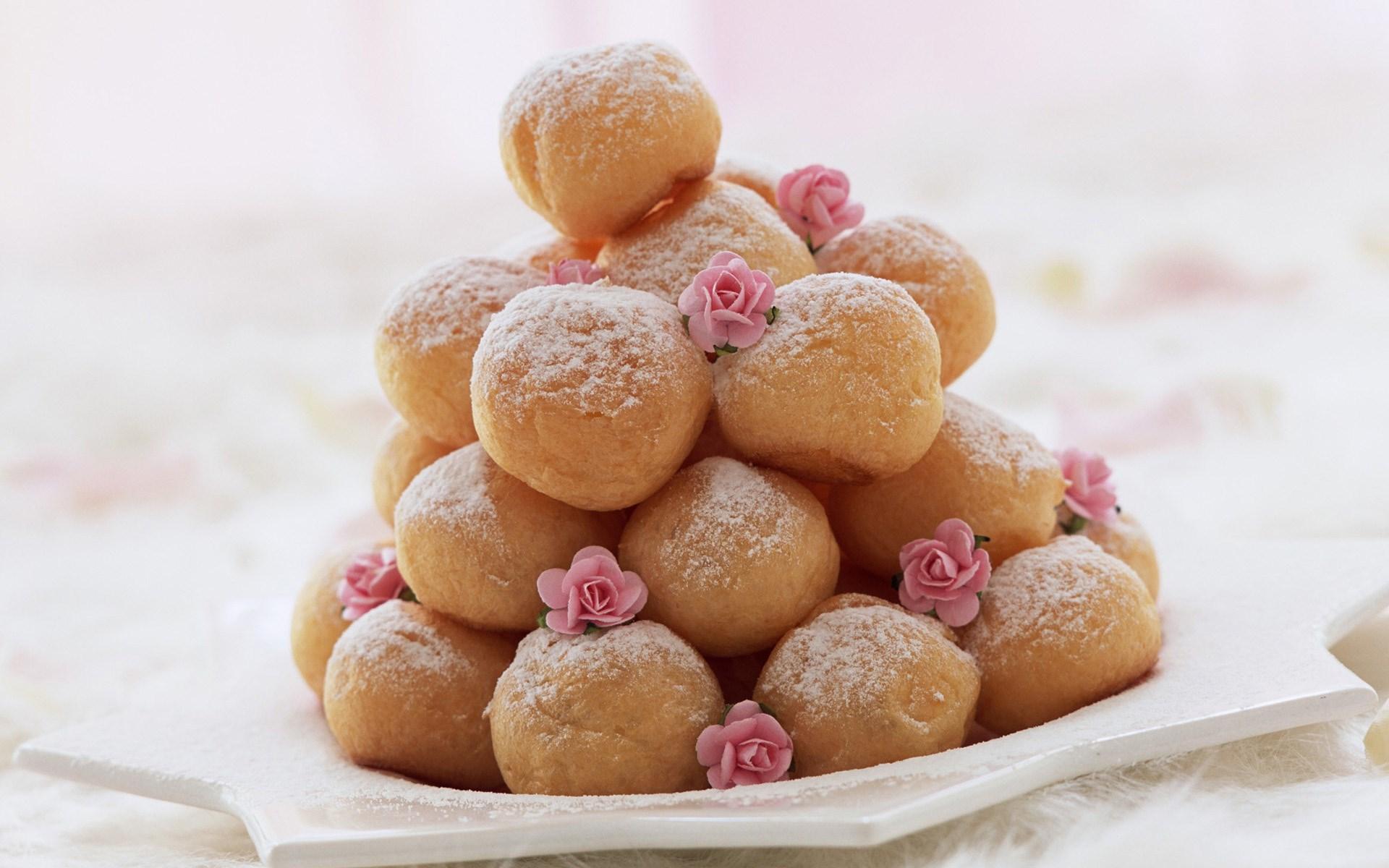 Sweet Donuts Icing Sugar Roses Dessert