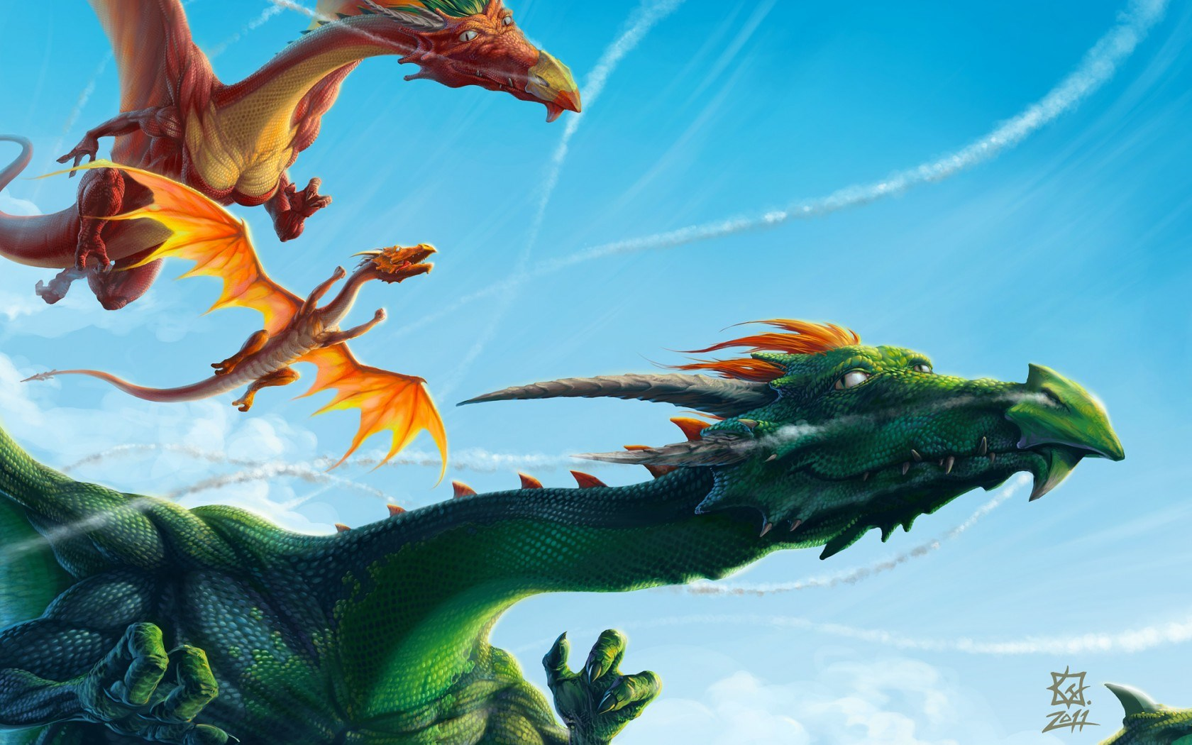 Dragons Flying In The Sky Art