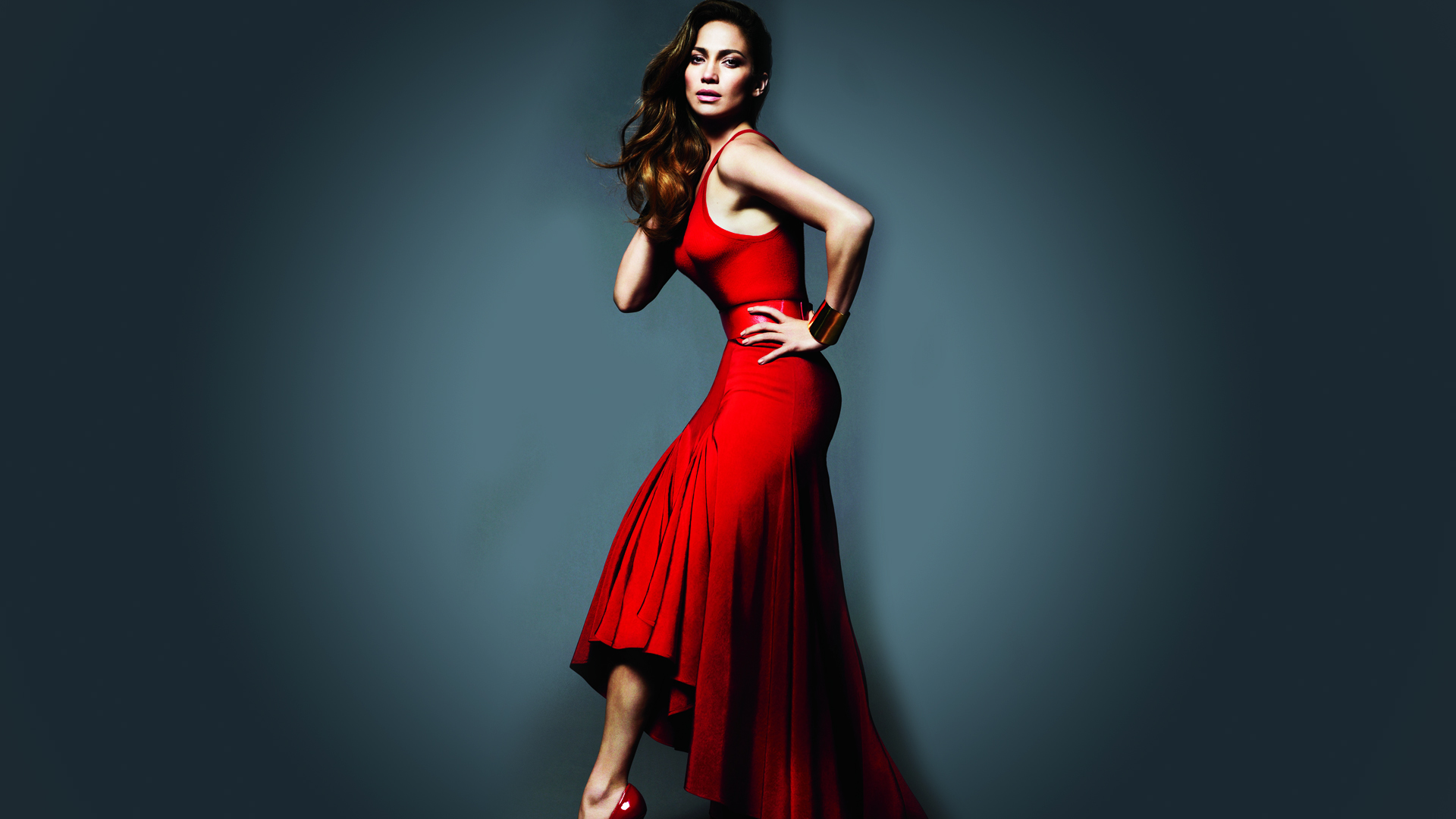 Red Dress Jennifer Lopez Wallpaper
