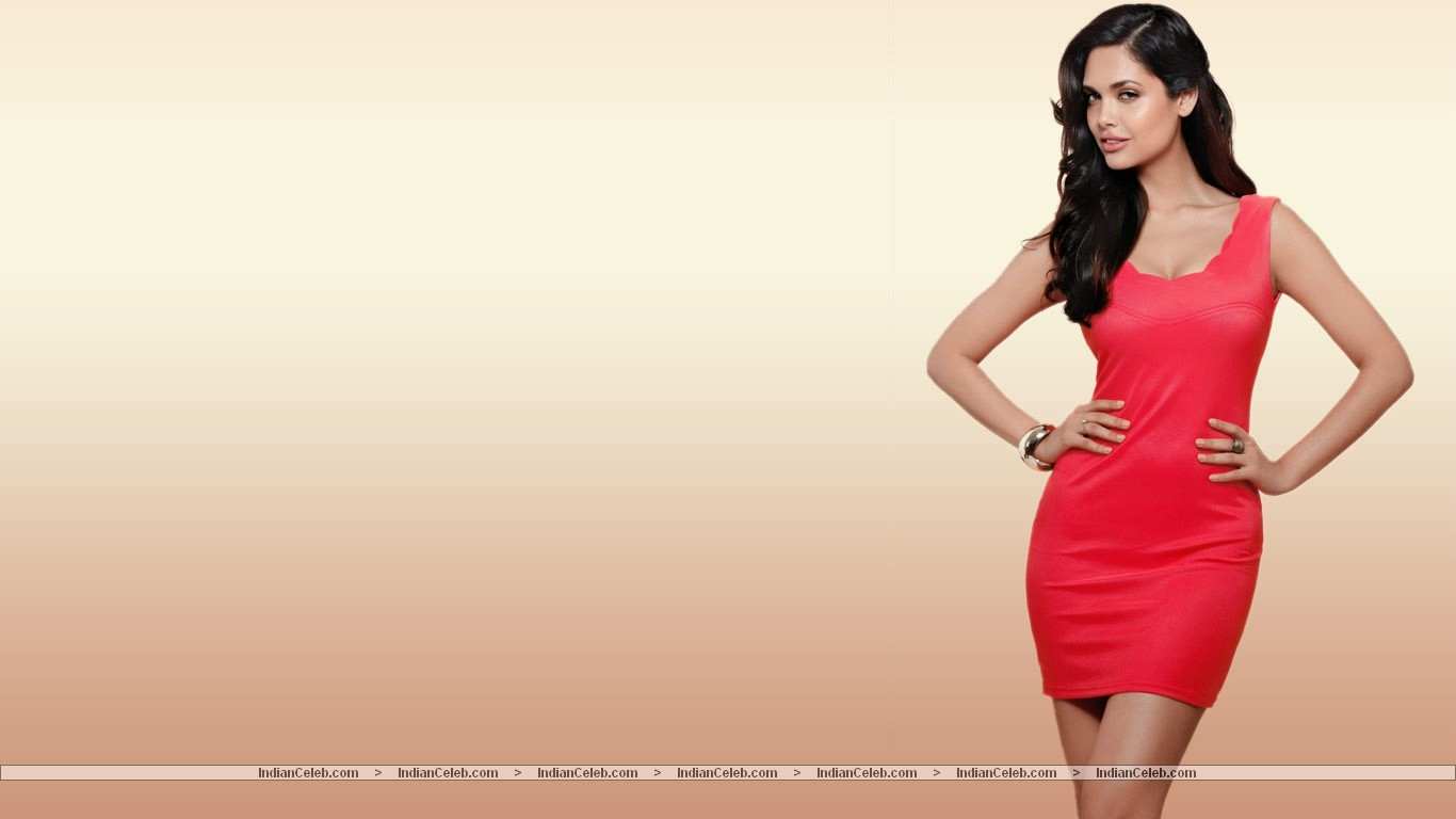 Esha Gupta Wallpaper Red Dress Wallpapers 1366x768 Wallpapers