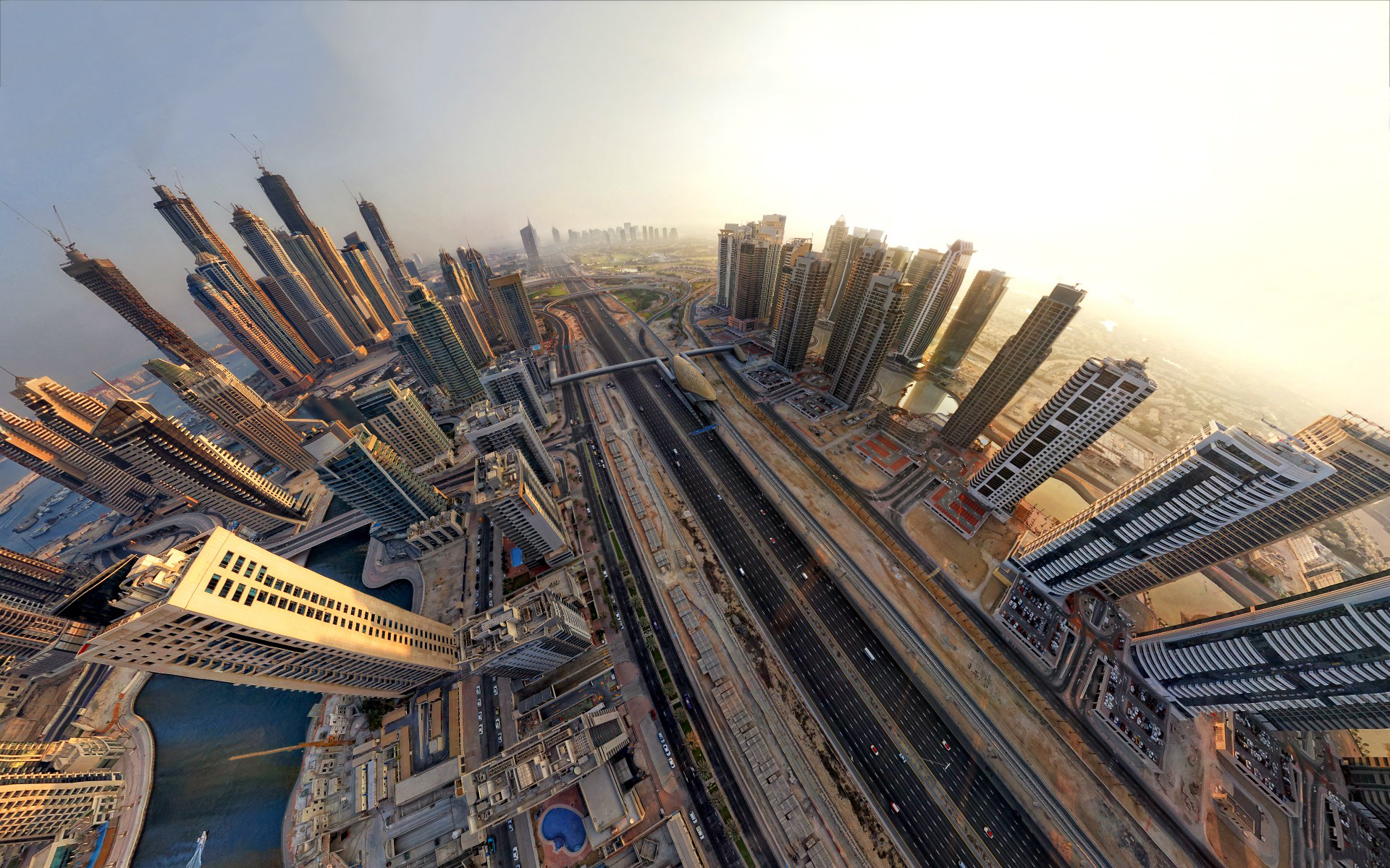 Dubai fisheye view