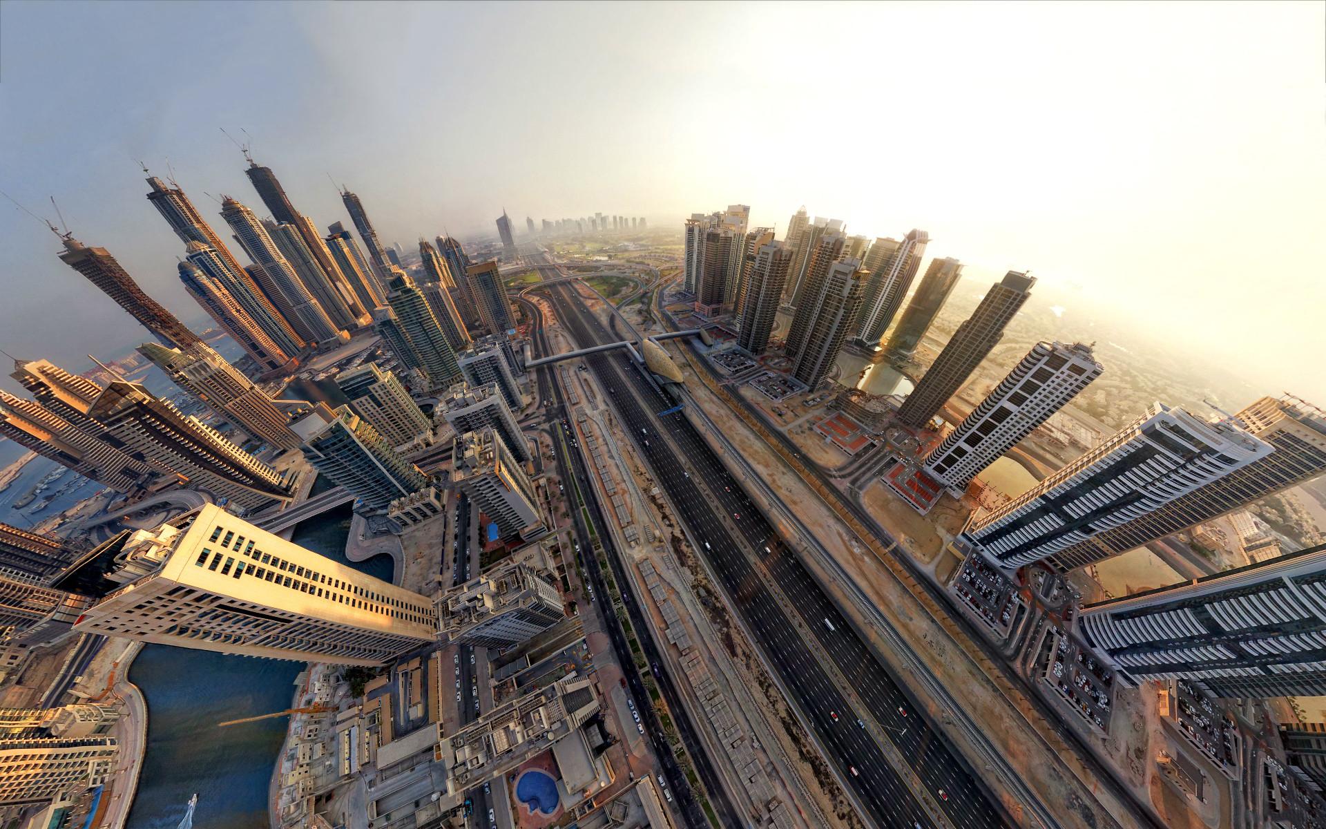 Dubai fisheye view