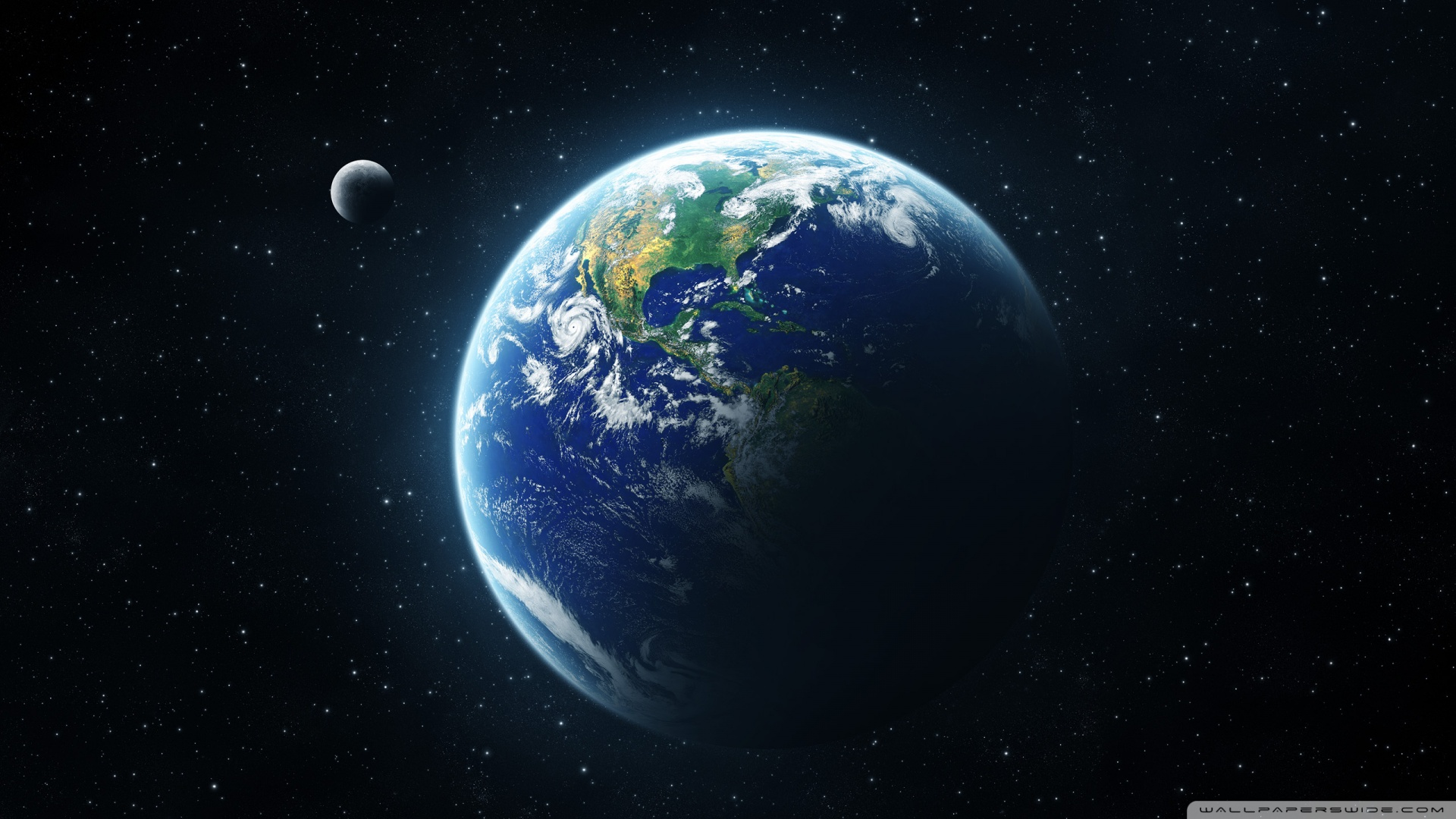 Earth and Moon Wallpaper HD