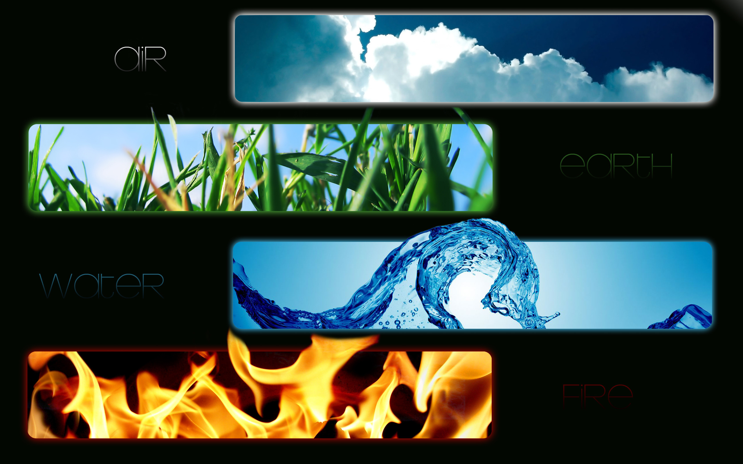 Element, water, fire, earth, air