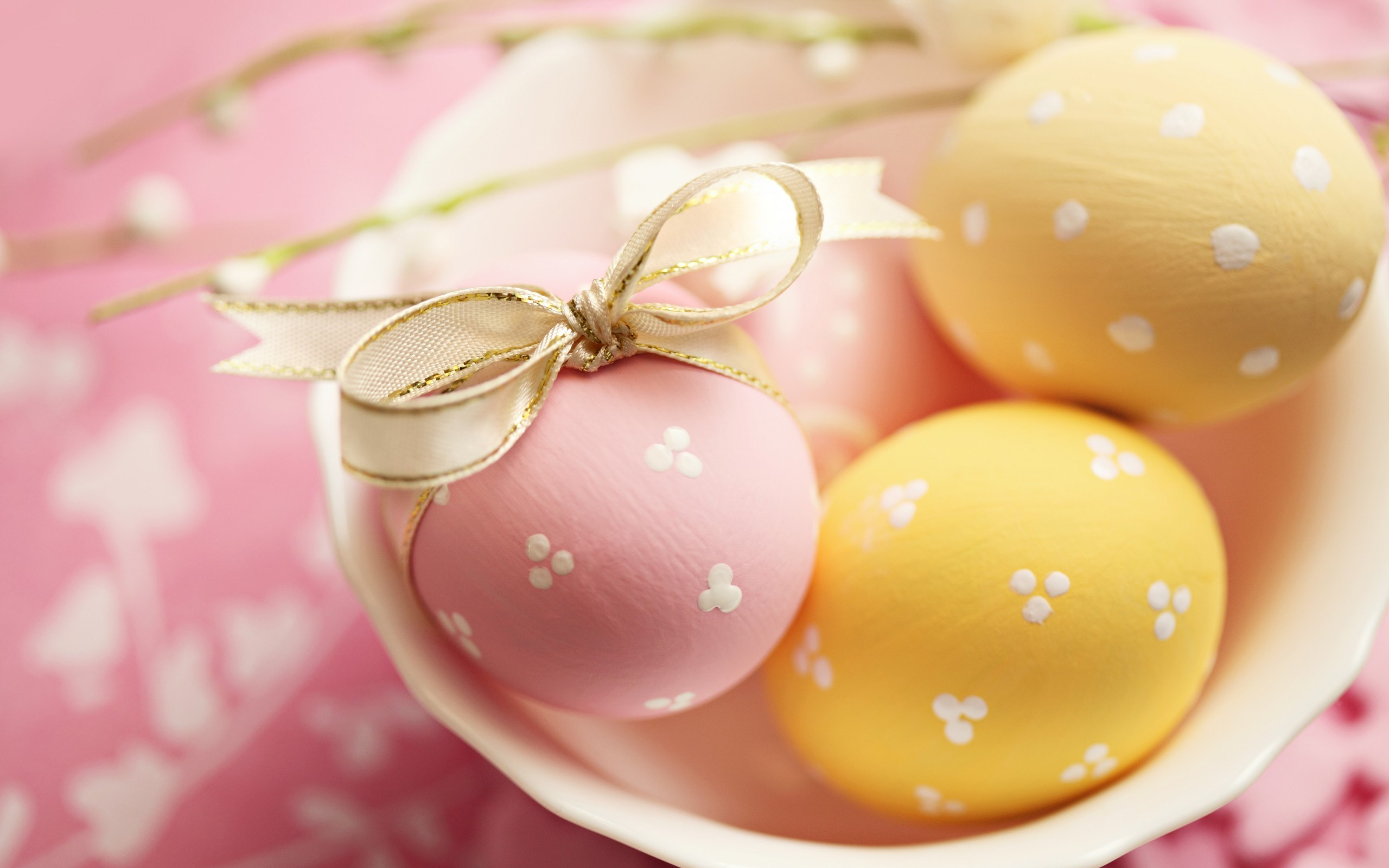 Easter Eggs Yellow Pink Ribbon Holiday