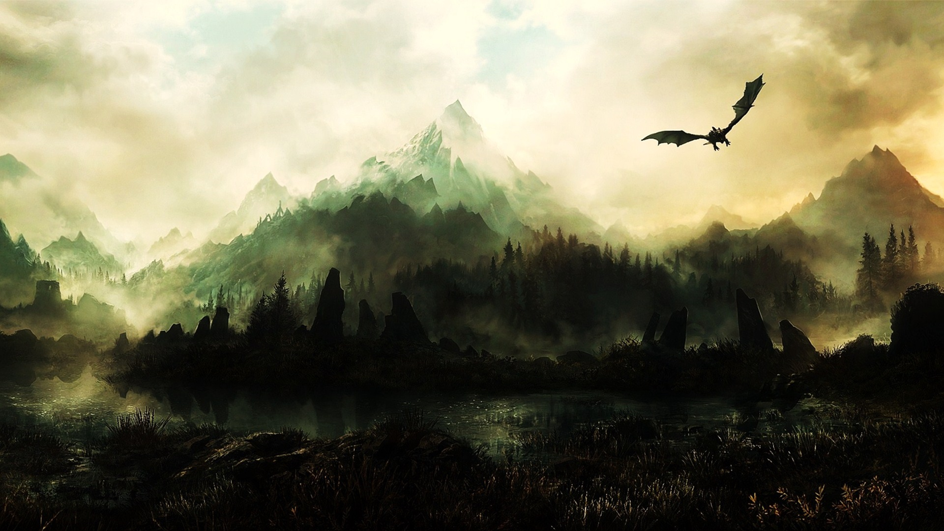 Dragon Flying over Misty Mountains - Elder Scrolls Online Fantasy image