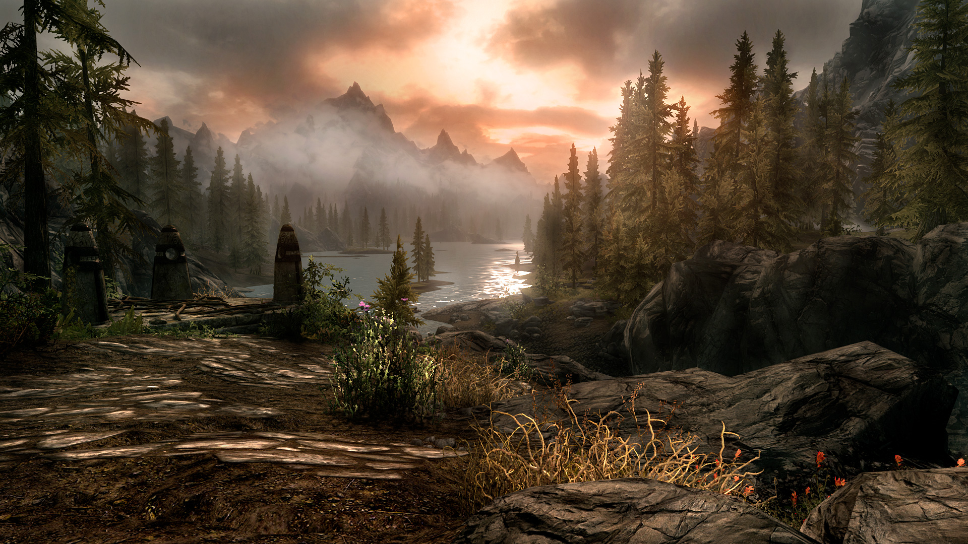 Skyrim Elder Scrolls Landscape Mountains Lake wallpaper background