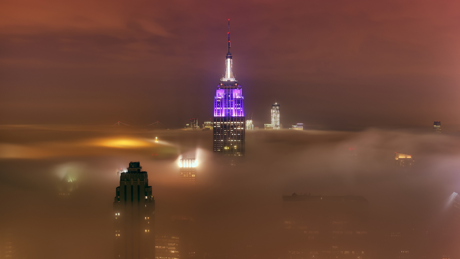 Empire state foggy