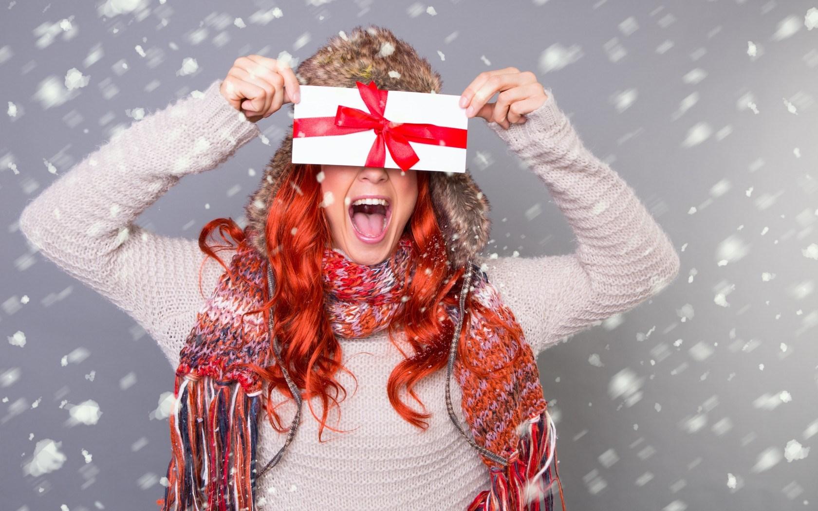 Envelope Girl Redhead Christmas Holiday New Year