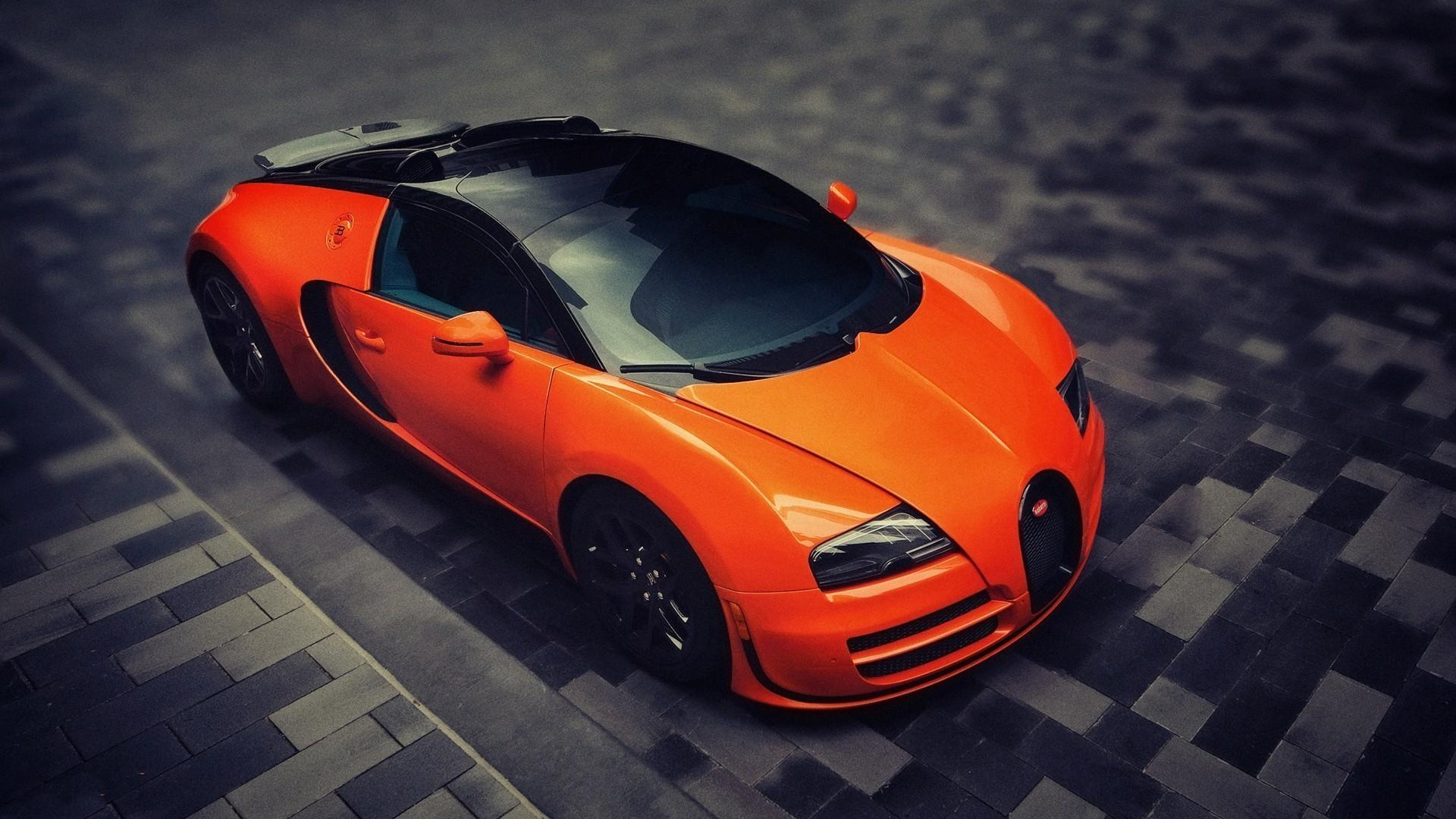 Orange bugatti veyron tilt-shift exotic cars wallpaper