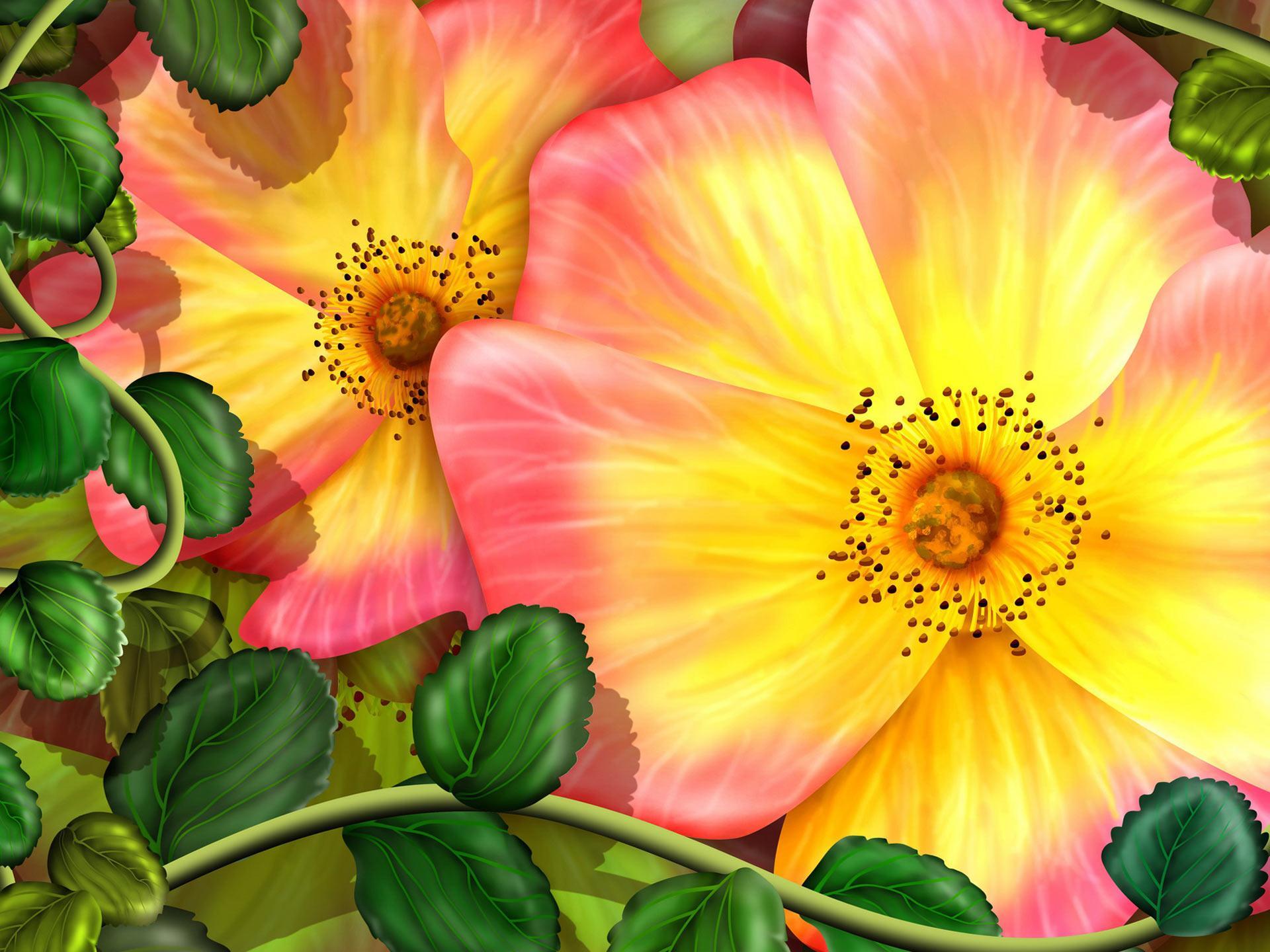 http://img.wallpaperlist.com/uploads/wallpaper/files/exo/exotic-flowers-vector-wallpaper-53b1b10e5e8dd.jpg | art and illustration | Pinterest