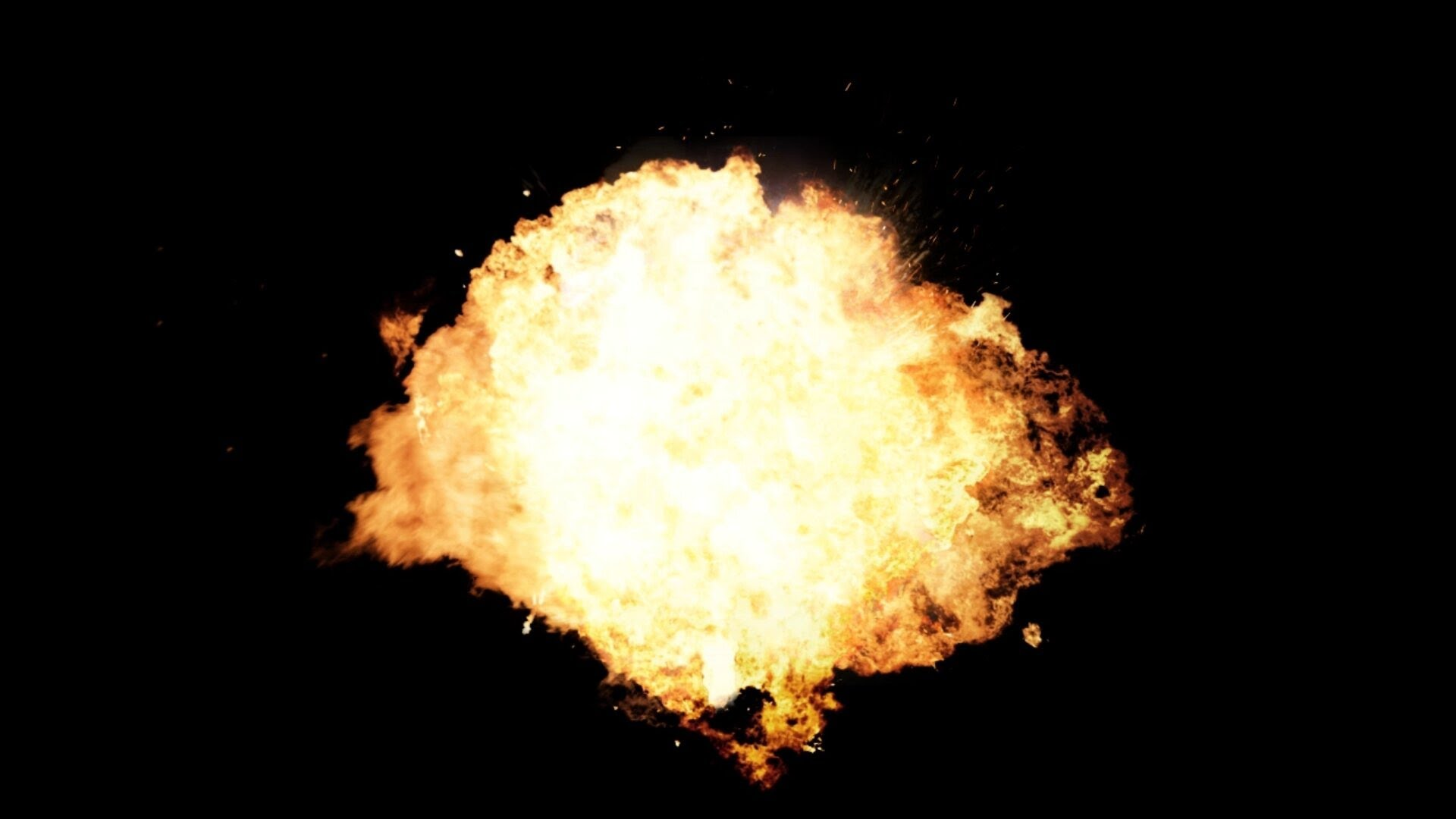 big fire explosion - black and green background - green screen effects