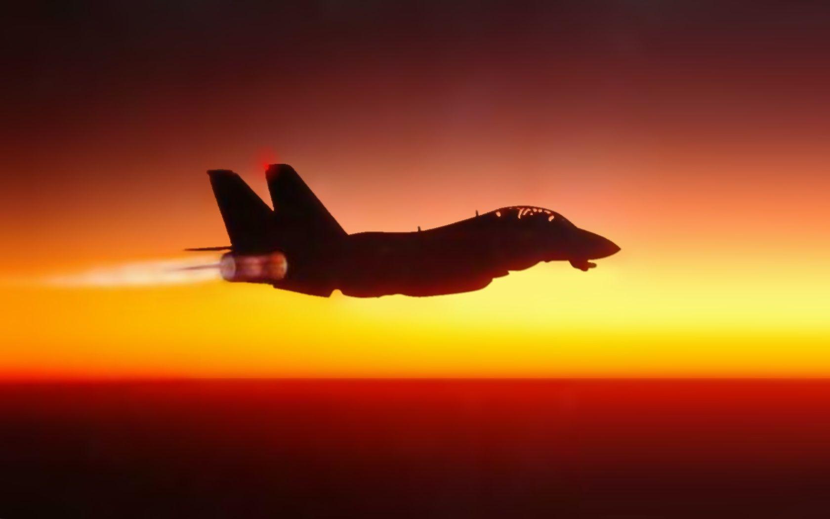 F14 tomcat sunset