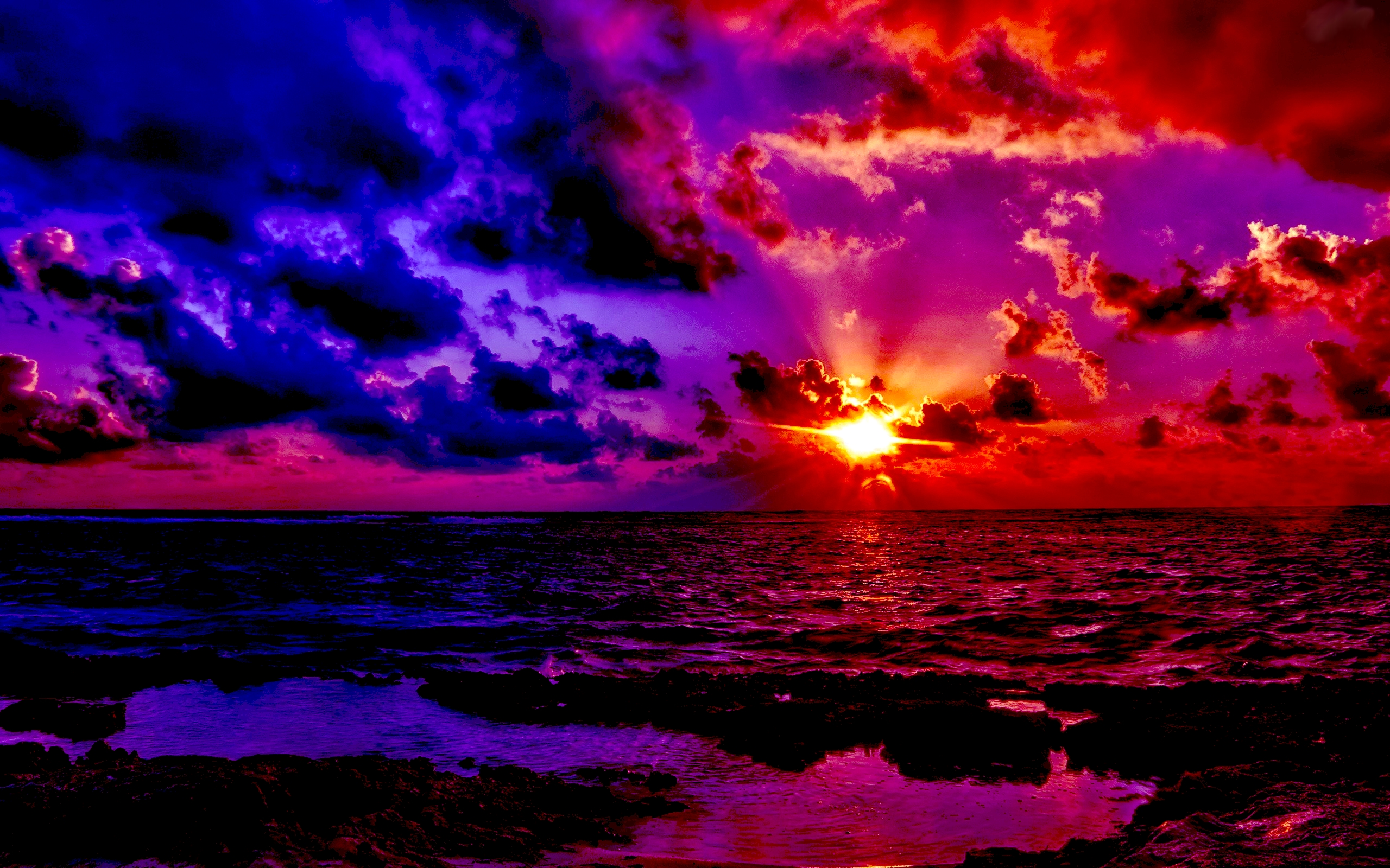 Fabulous Sunset Wide Desktop Background wallpaper