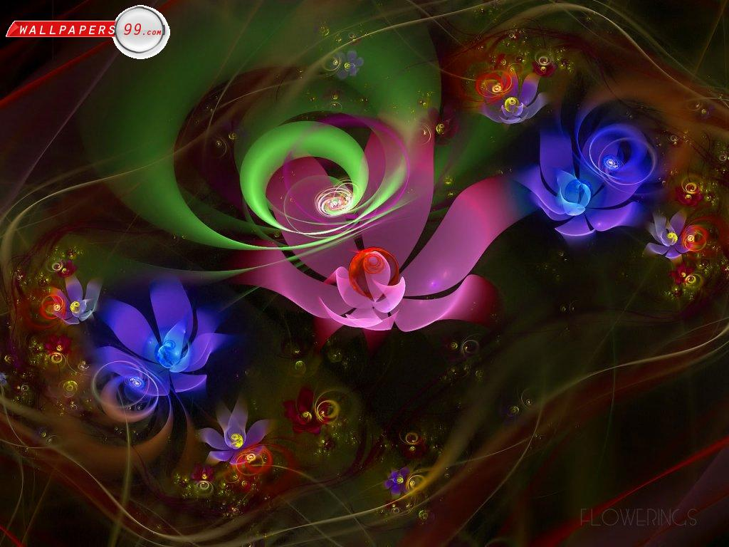Fantastic Abstract Flowers Wallpaper 1024x768