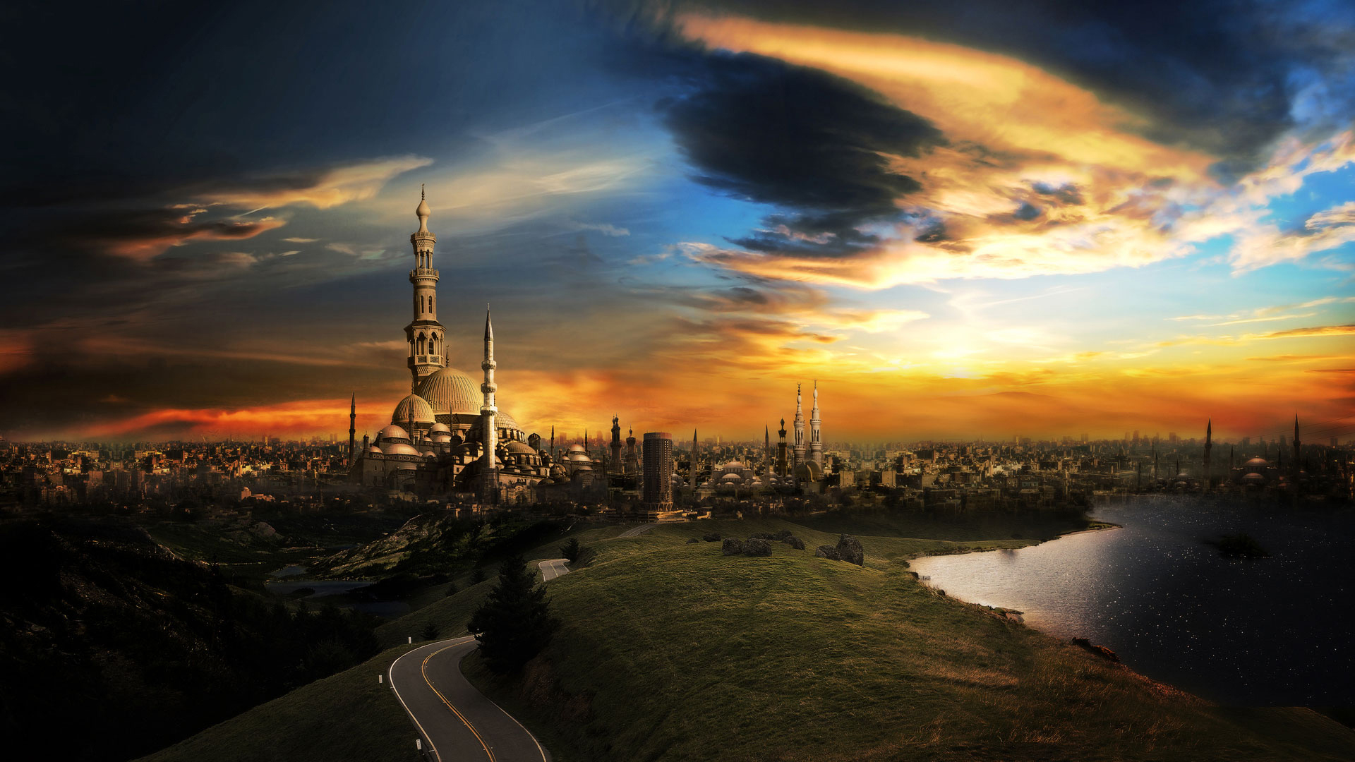 original wallpaper download: Fantastic city with towers - 1920x1080