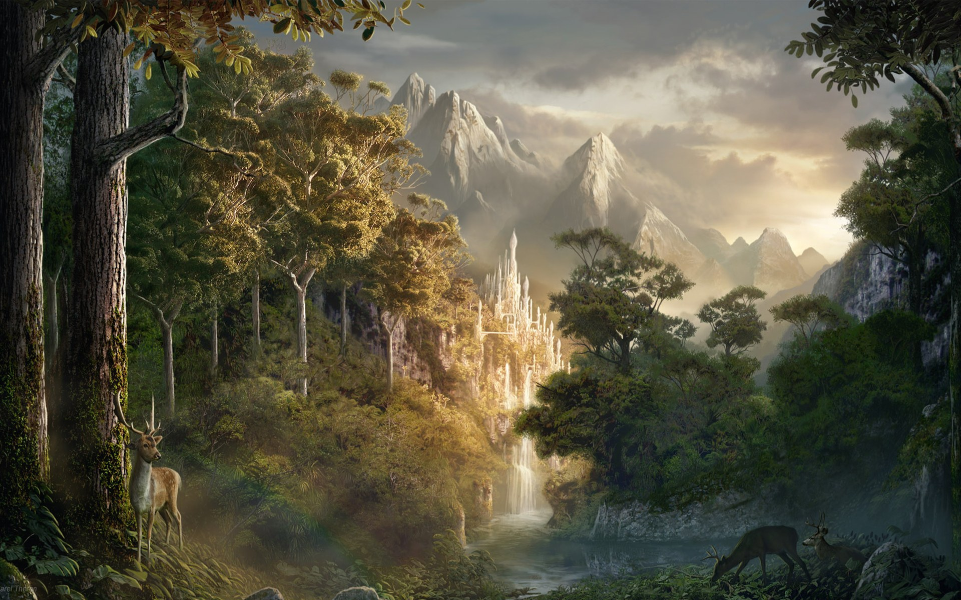 Fantasy Art Forest HD Wallpaper Desktop #3012 Wallpaper .