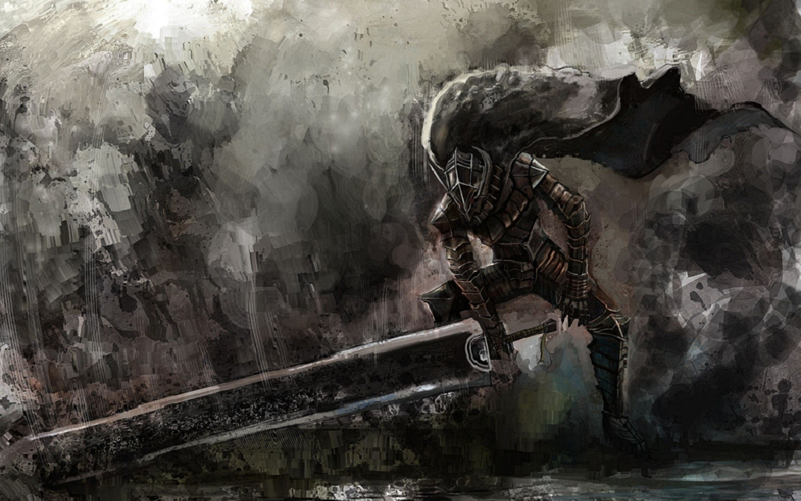 Dreamy Fantasy Berserk Warrior Swords Artwork Wallpaper