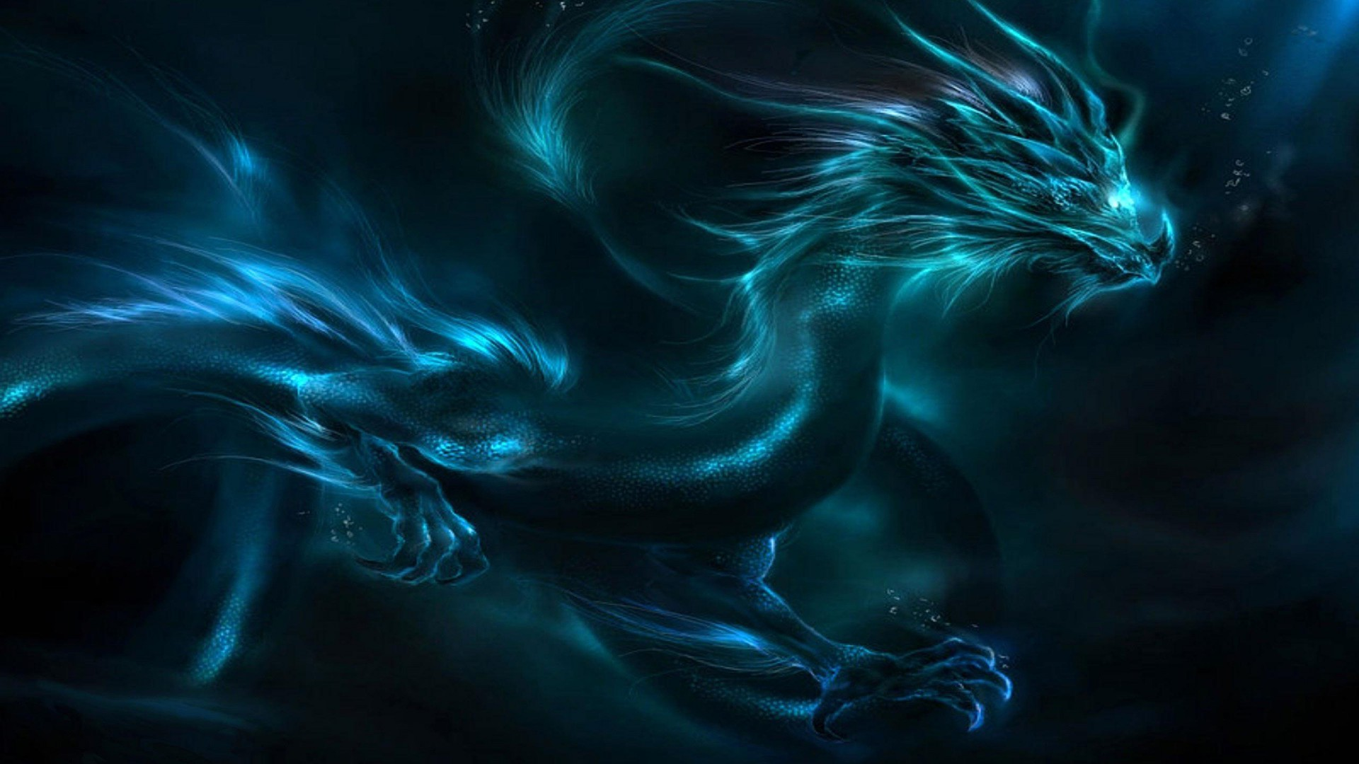 Fantasy Blue Dragon Wallpaper