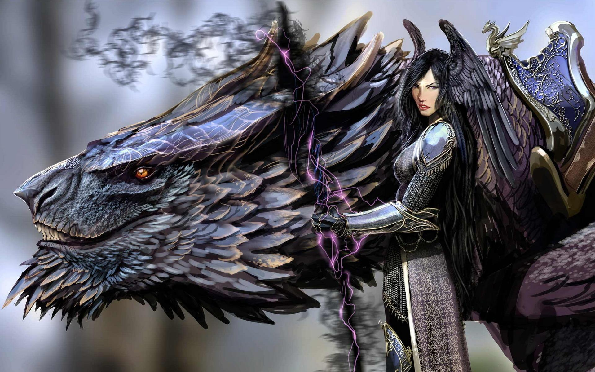Fantasy Dragon Woman Warrior Wallpaper #49800 - Resolution 1920x1200 px