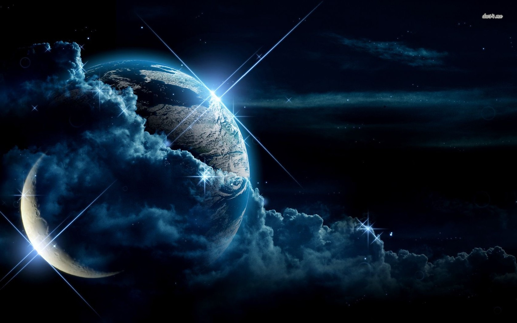 ... Earth and moon between the clouds wallpaper 1680x1050 ...
