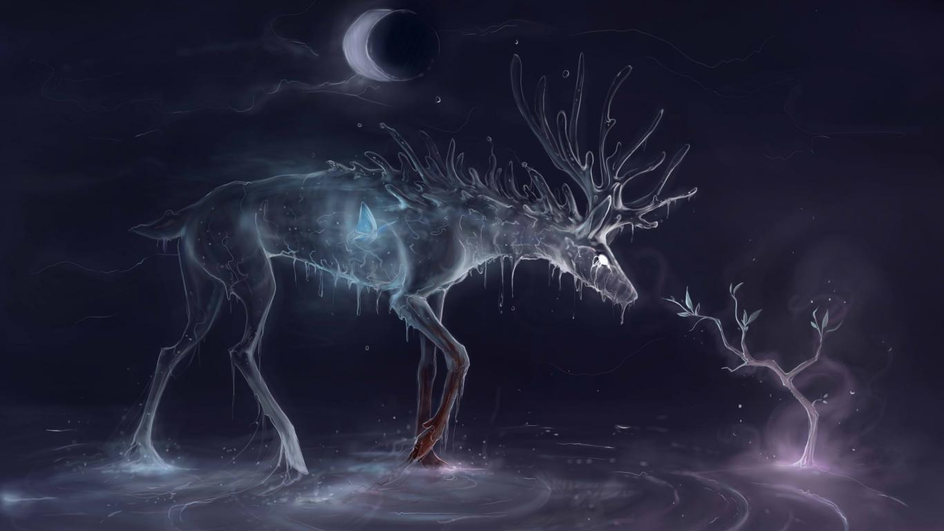 Spirite Fantasy Art Deer Butterfly Water Wood Moon