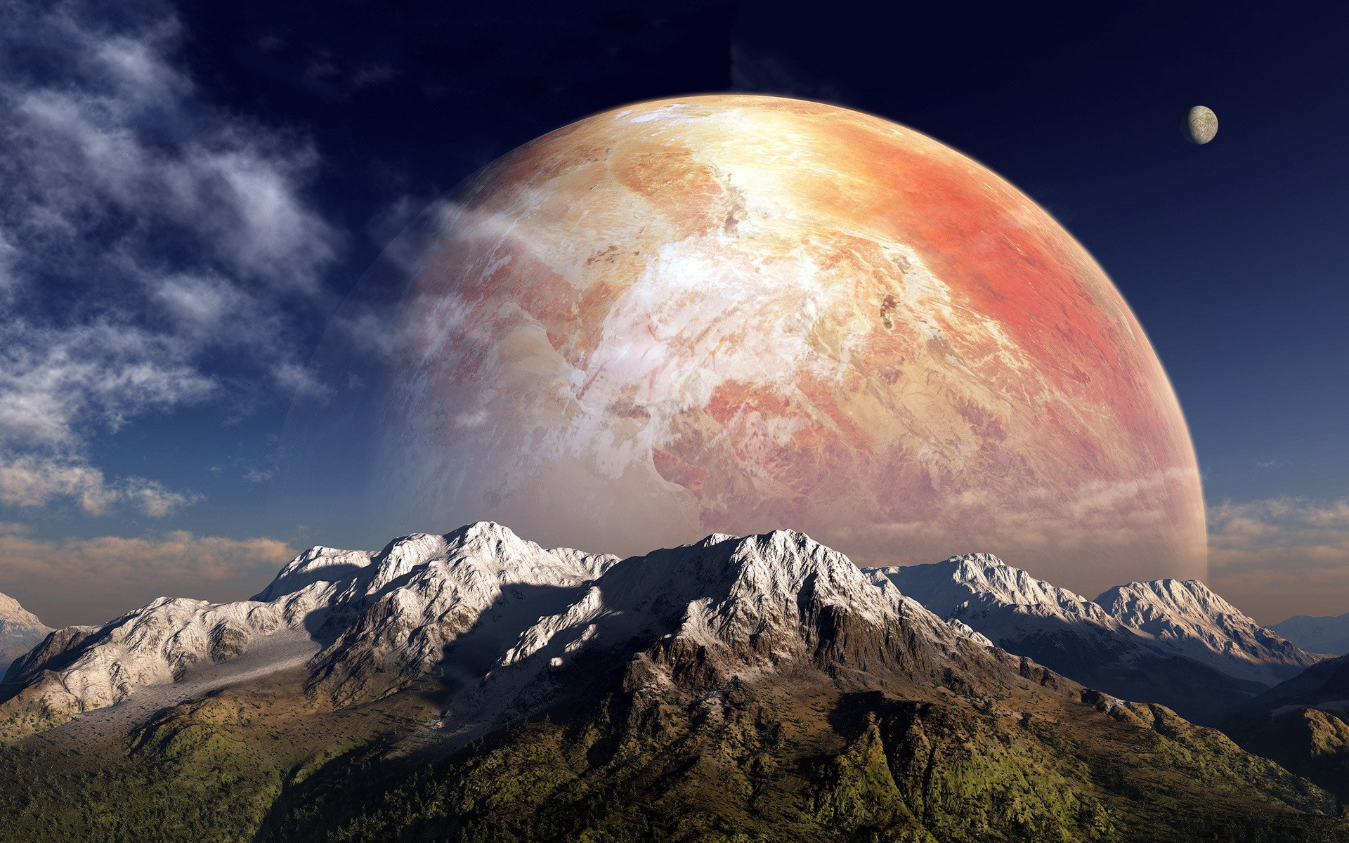 Fantasy planet mountains