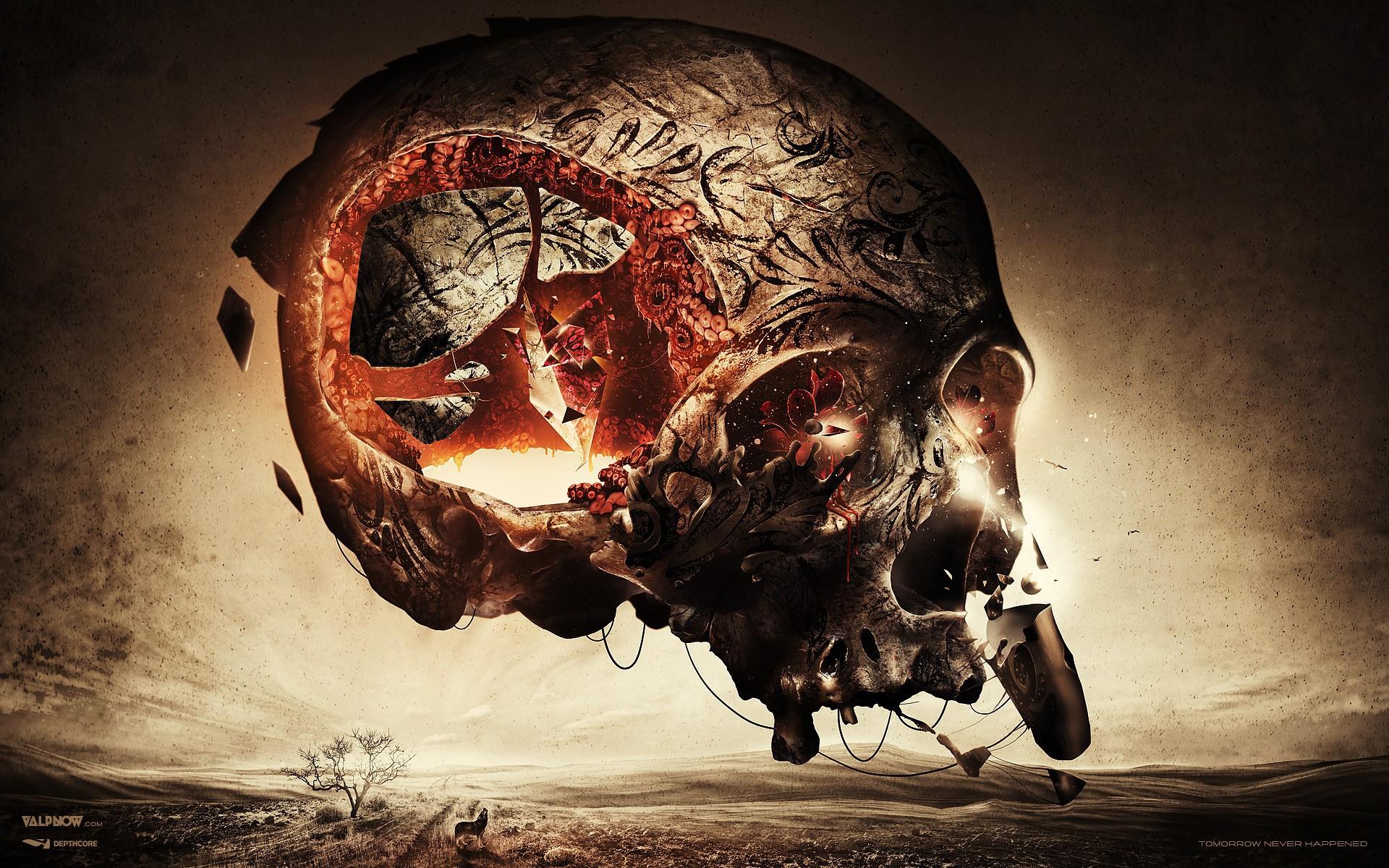 ... Skeleton, Skull, engraving, anarchy, Cyberpunk - 1920x1200