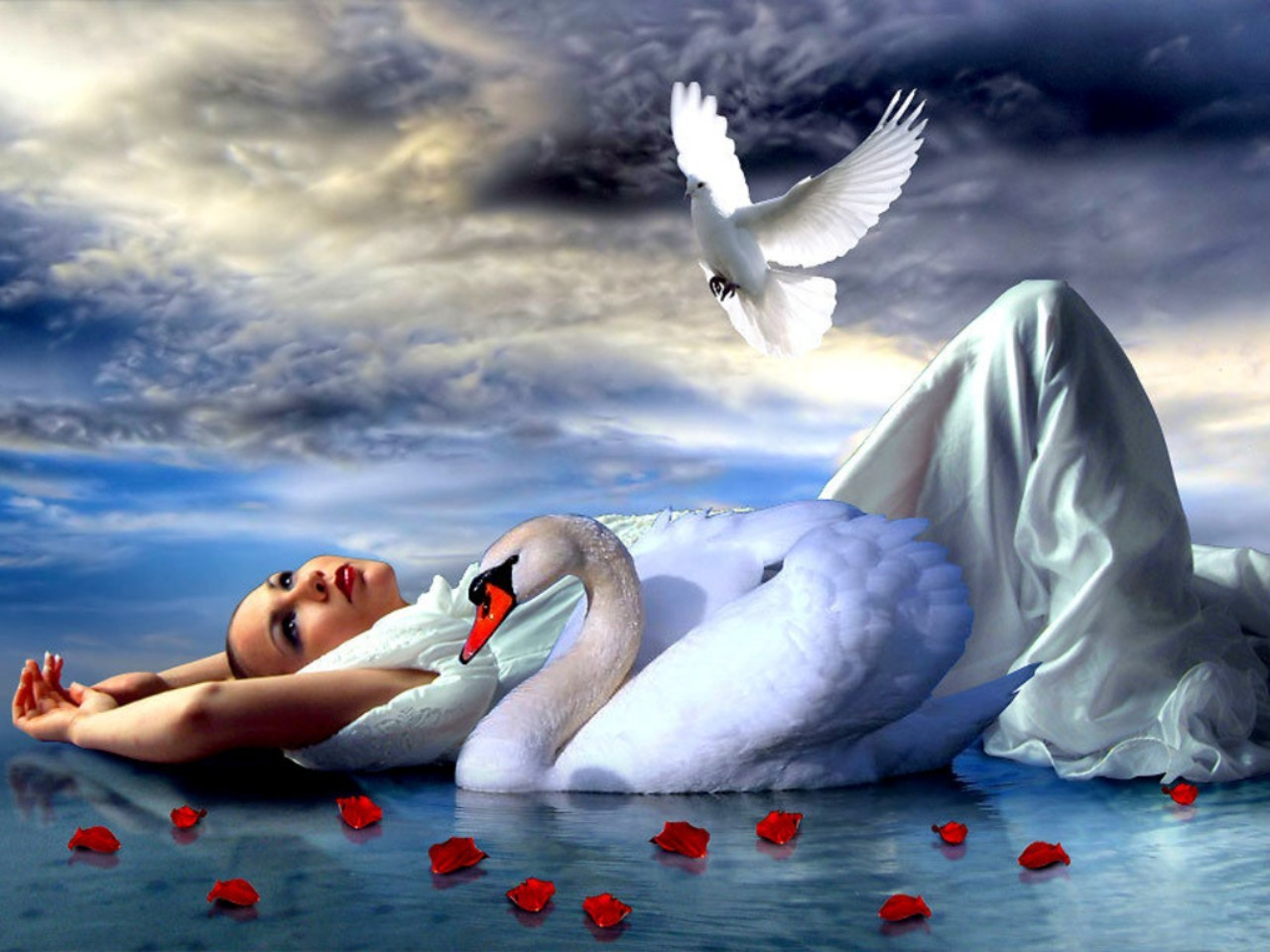 Free Lady and the Swan wallpaper background