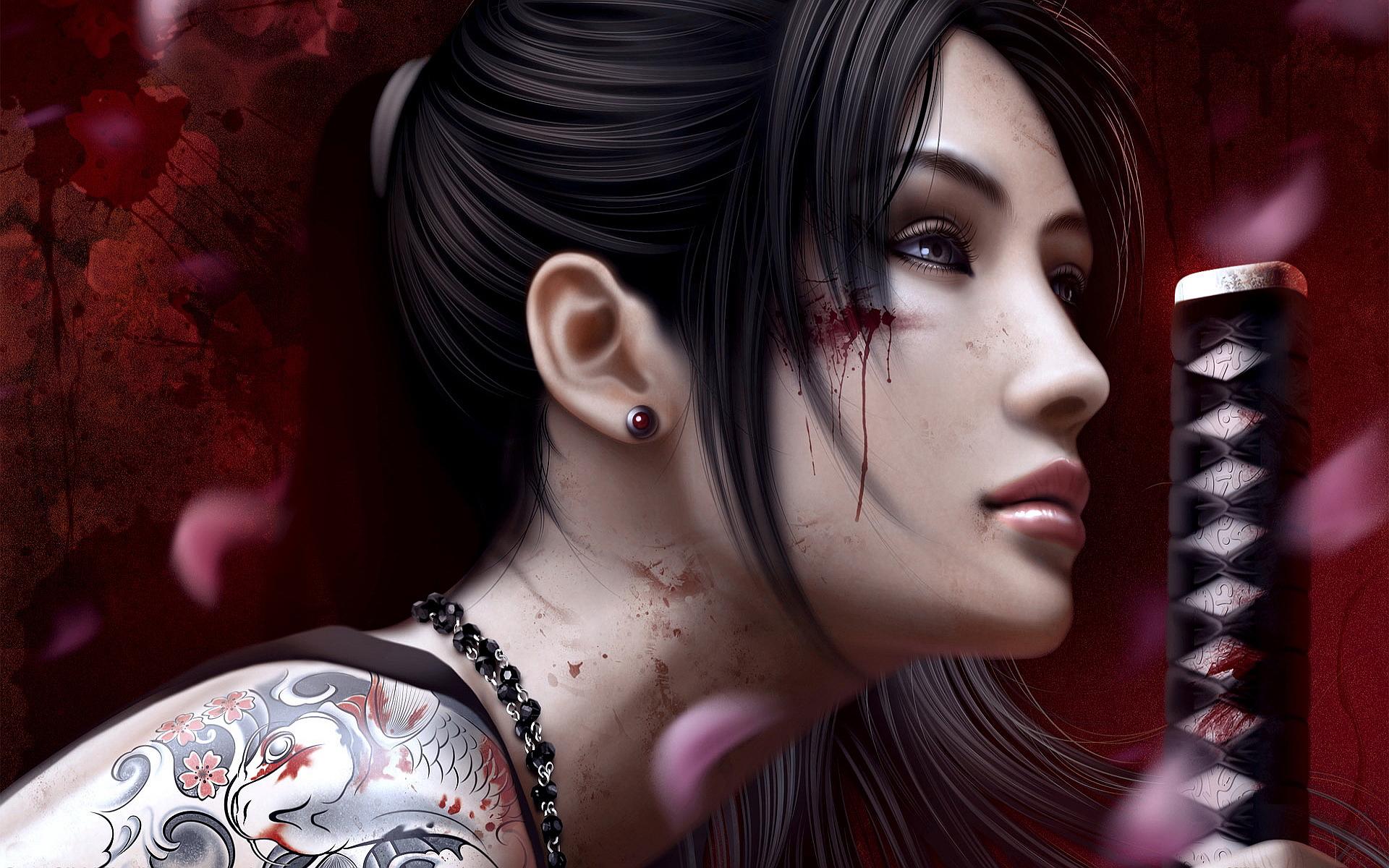 Fantasy tattoos warrior girl