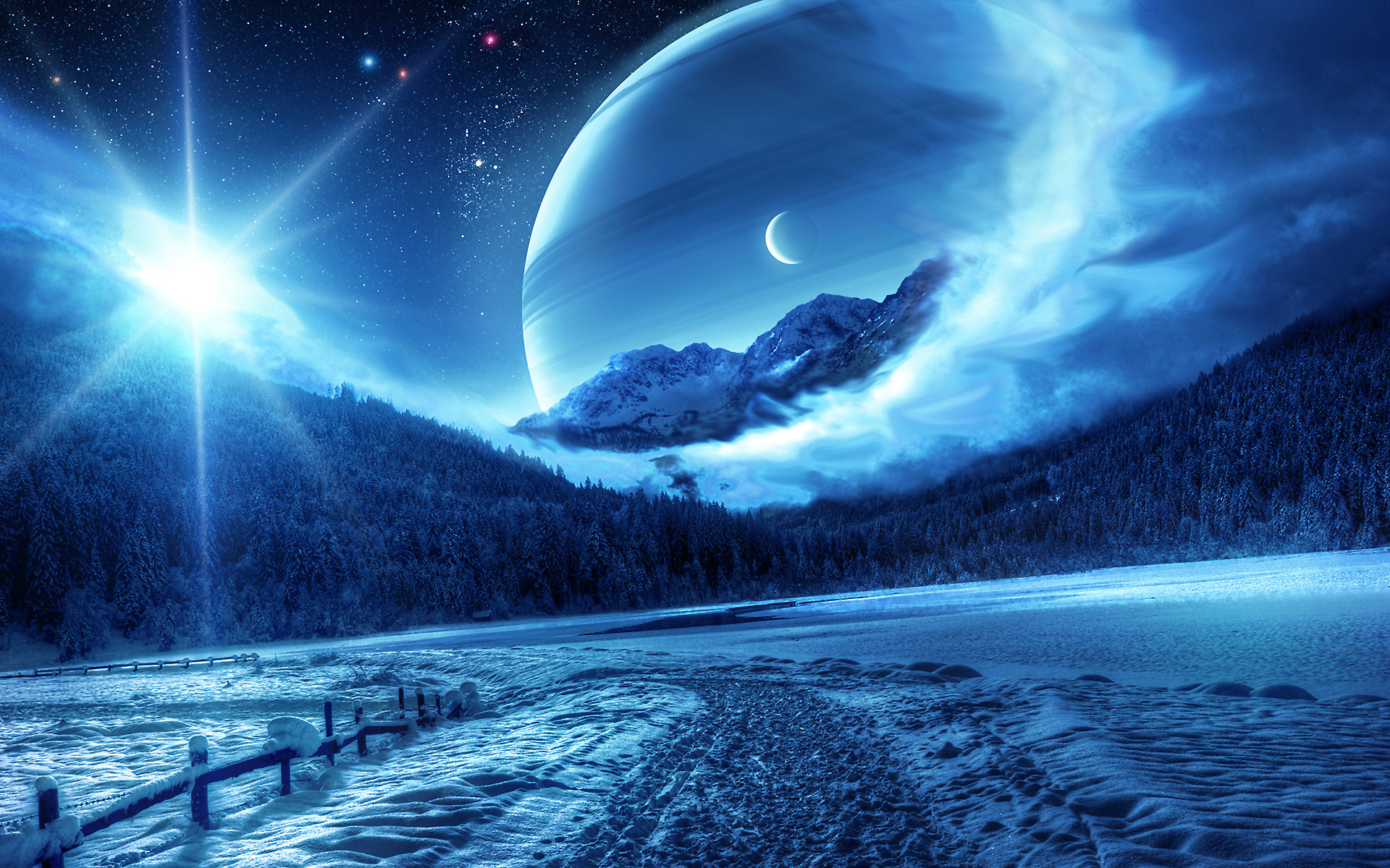 Fantasy winter scenery