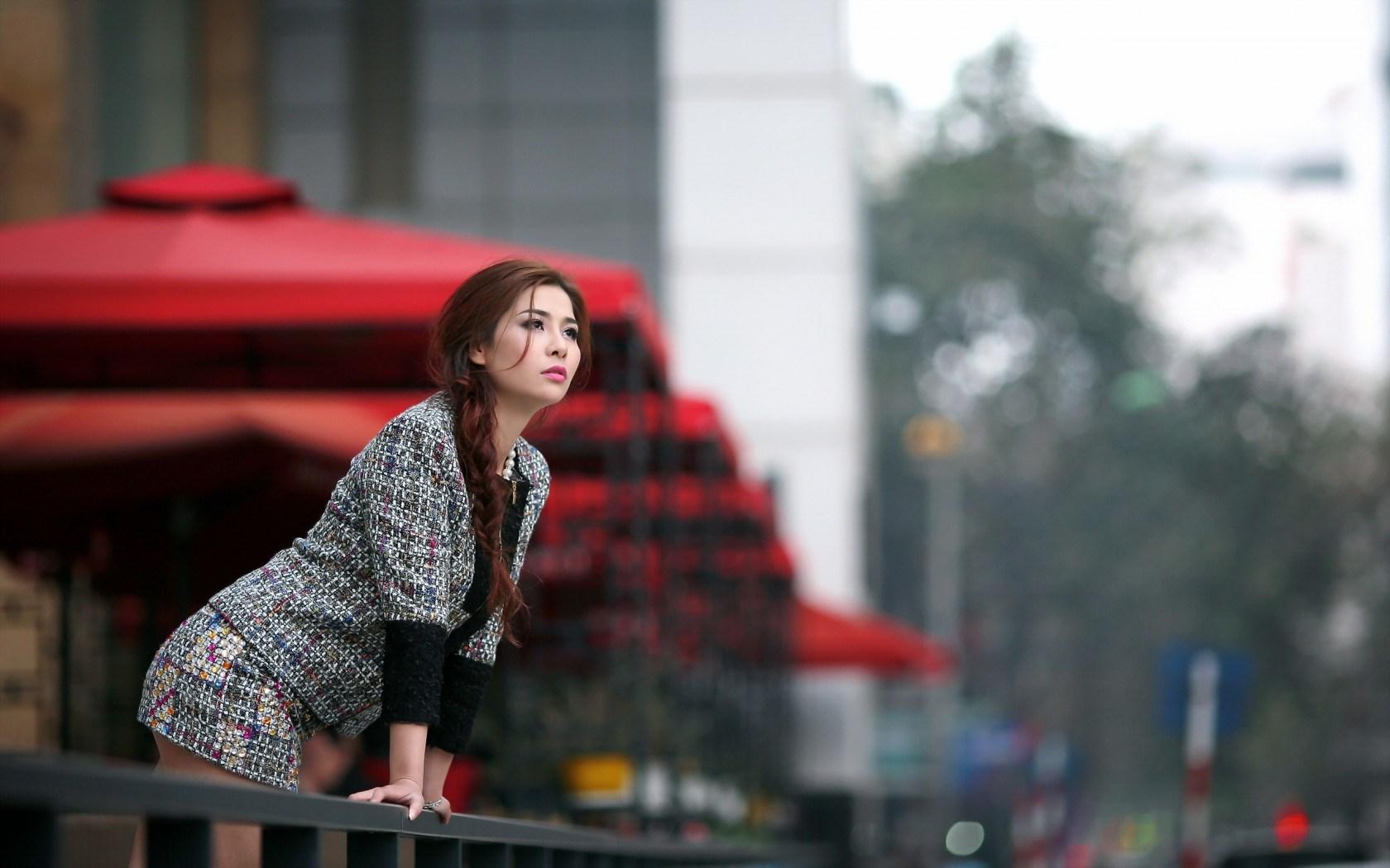 Fashion Model Asian Girl City