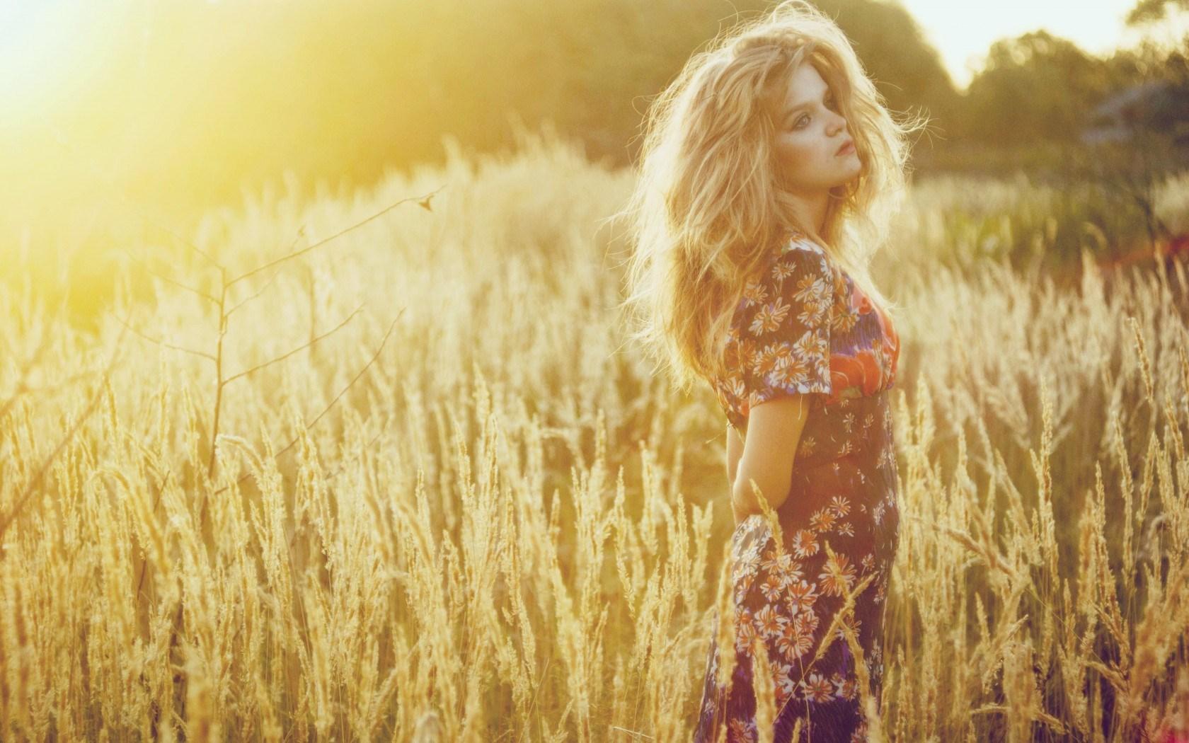 Fashion Model Blonde Field