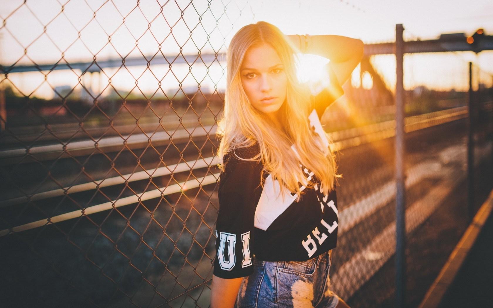 Fence Blonde Girl Model Sun