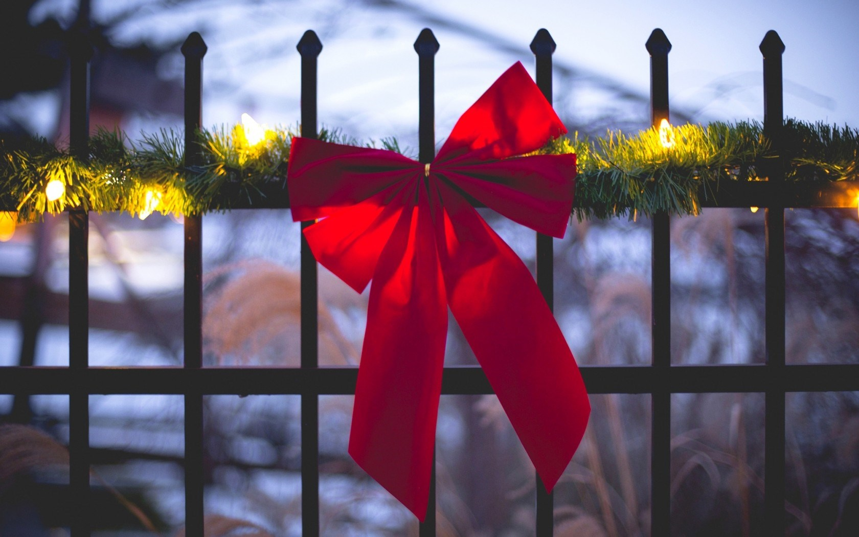 Fence Ribbon Red Holiday Garland Lights Winter