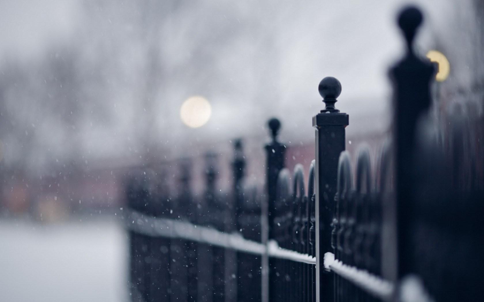 Fence Street Snow Close-Up