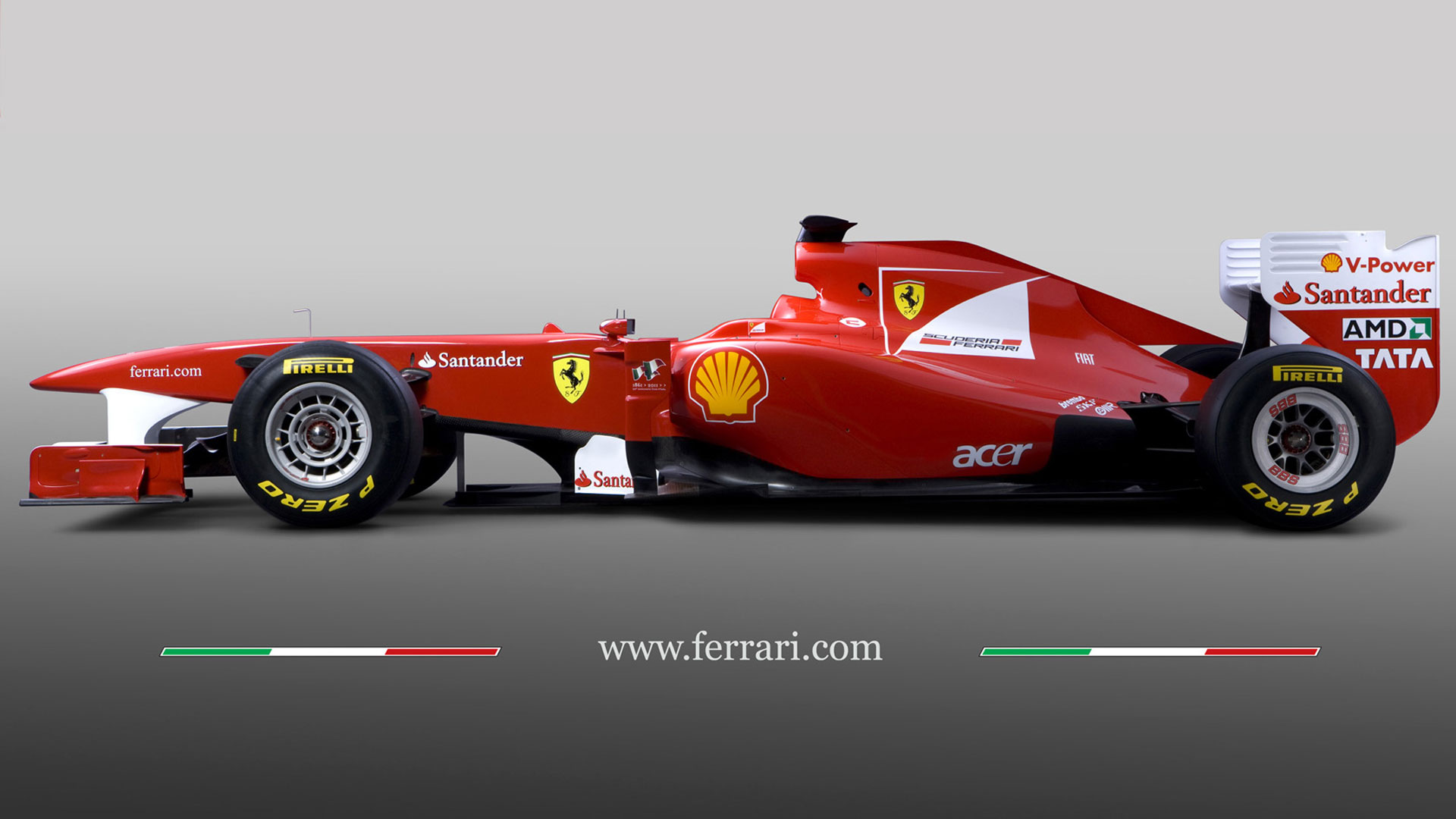 The car Ferrari F1 was equipped with manual transmission and 6 speed gearbox also factory manufacturer established set of tires - none.