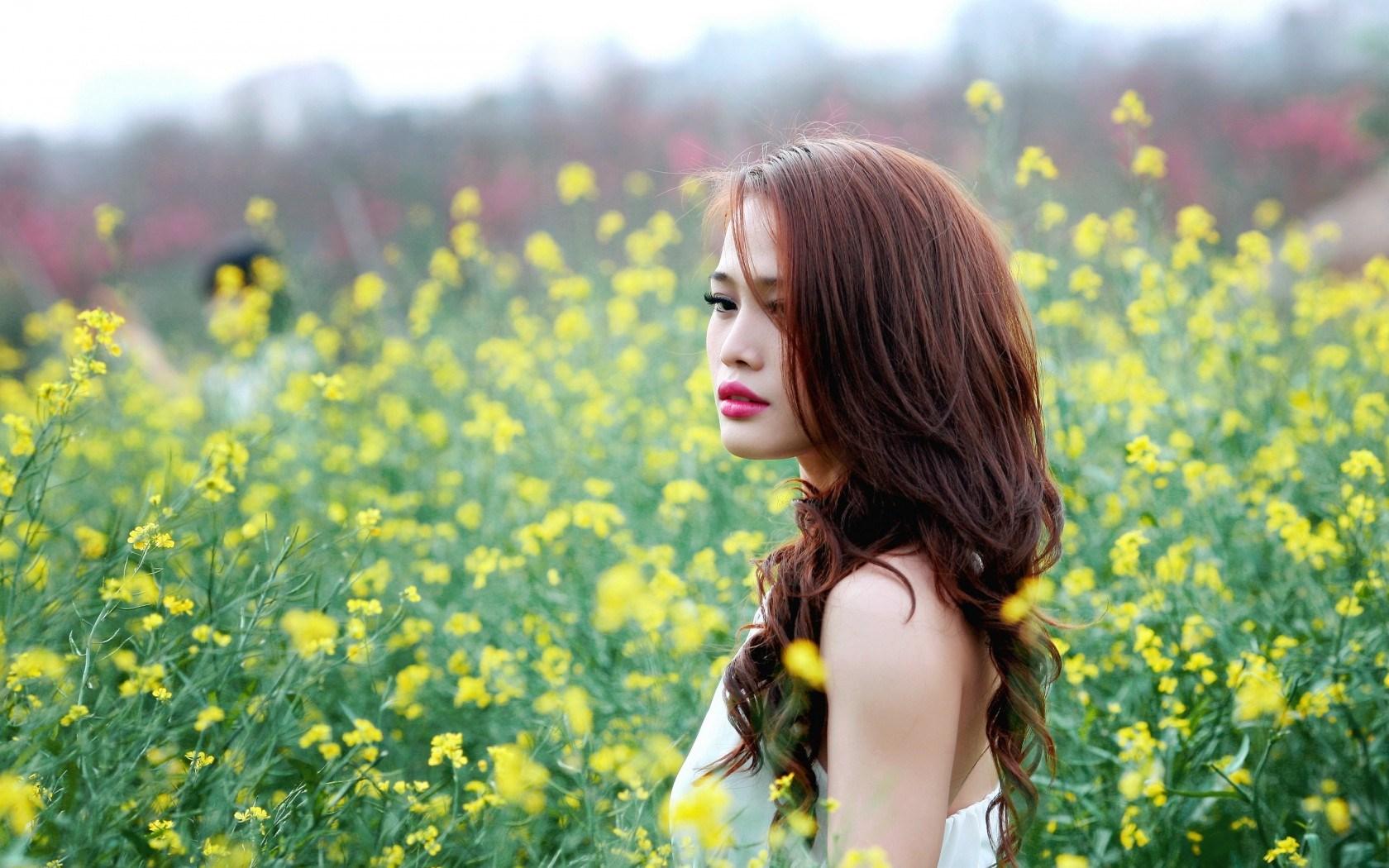 Asian Girl Field Bokeh
