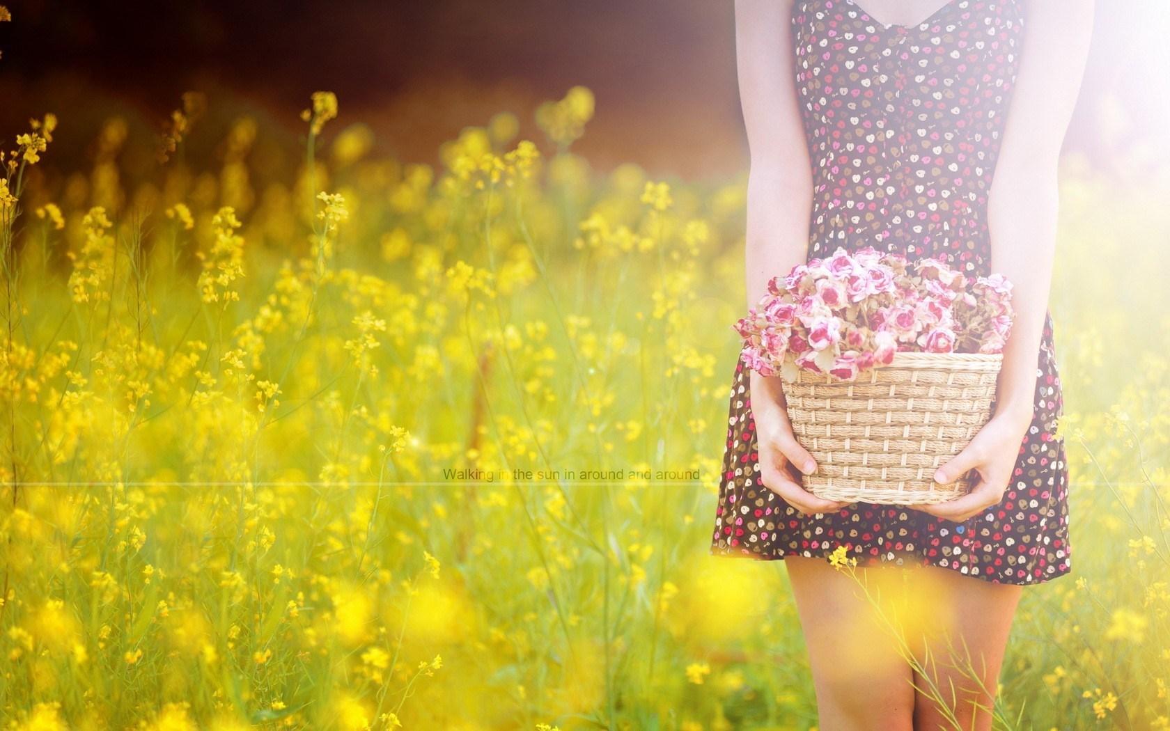 Field Girl Flowers Photo