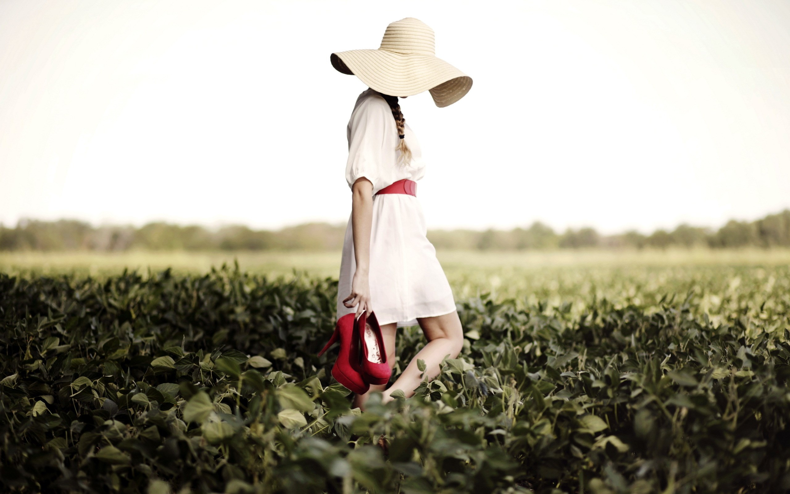 Field Girl Hat Red Shoes wallpaper | 2560x1600 | #19404