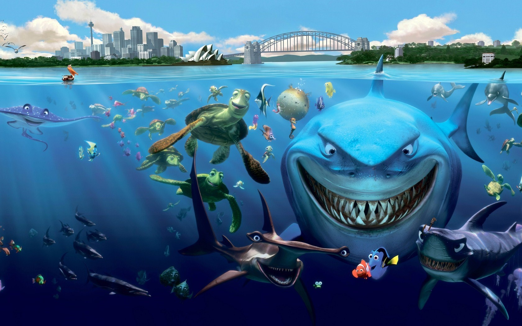 Finding Nemo Underwater Fish Sharks Turtles Cartoon