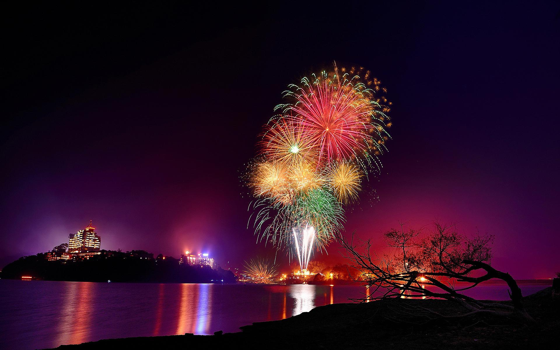 Fireworks city night