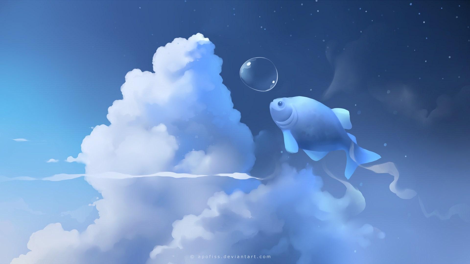 Fish Clouds Art