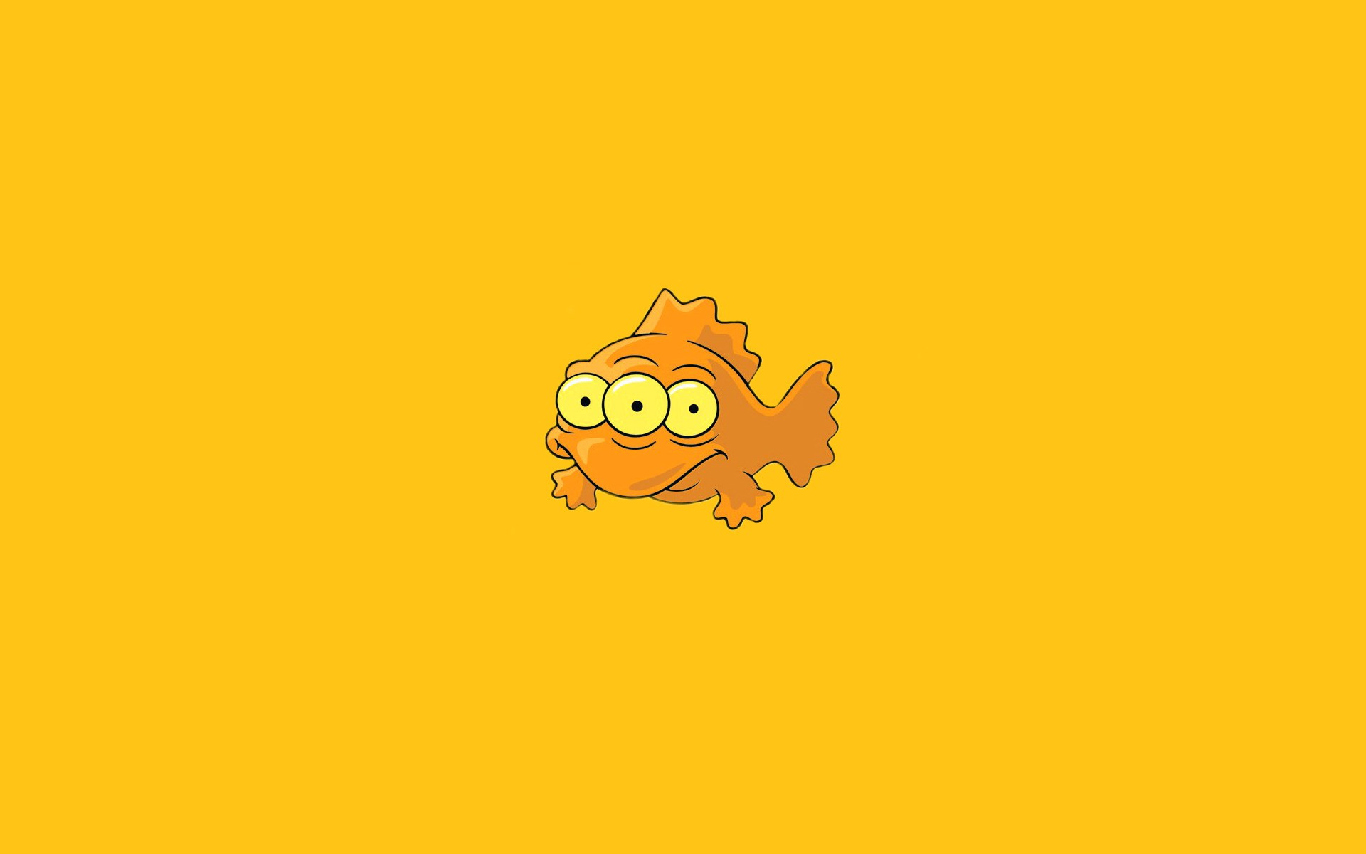 Fish Three Eyes Orange Minimalism Funny