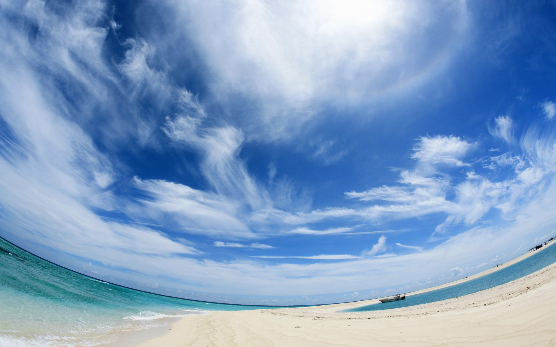 Fisheye beach HD Wallpaper