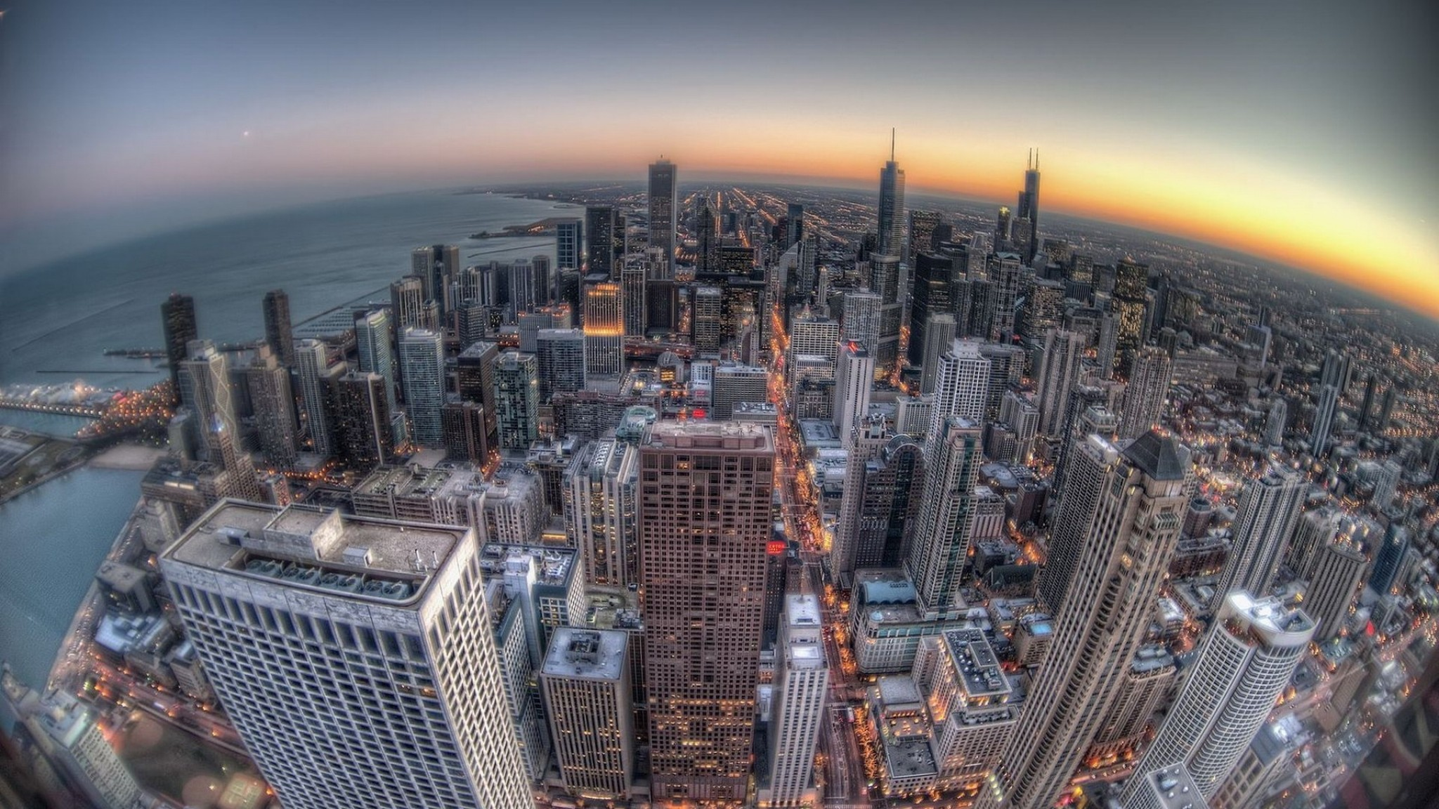 Chicago Buildings Skyscrapers Sunset Fisheye Wallpaper