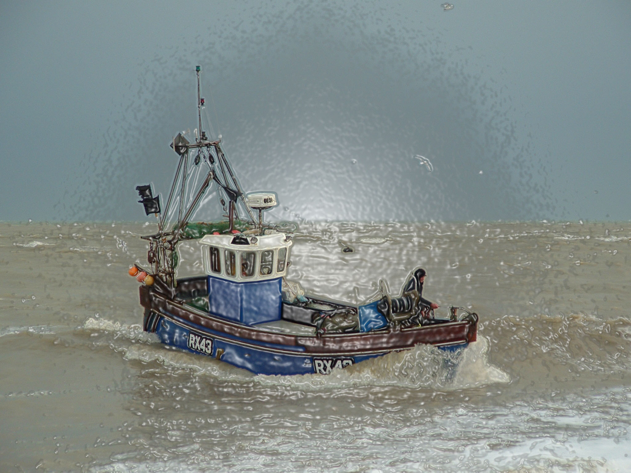 fishing boat painting image