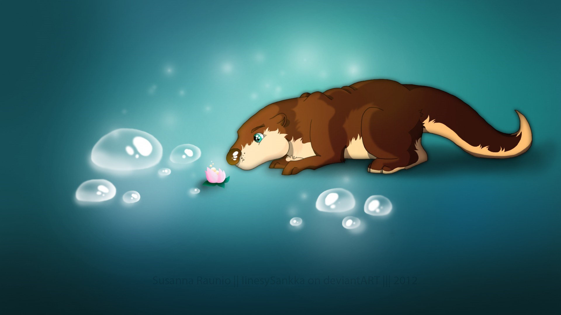 Flower Bubbles Otter Artwork